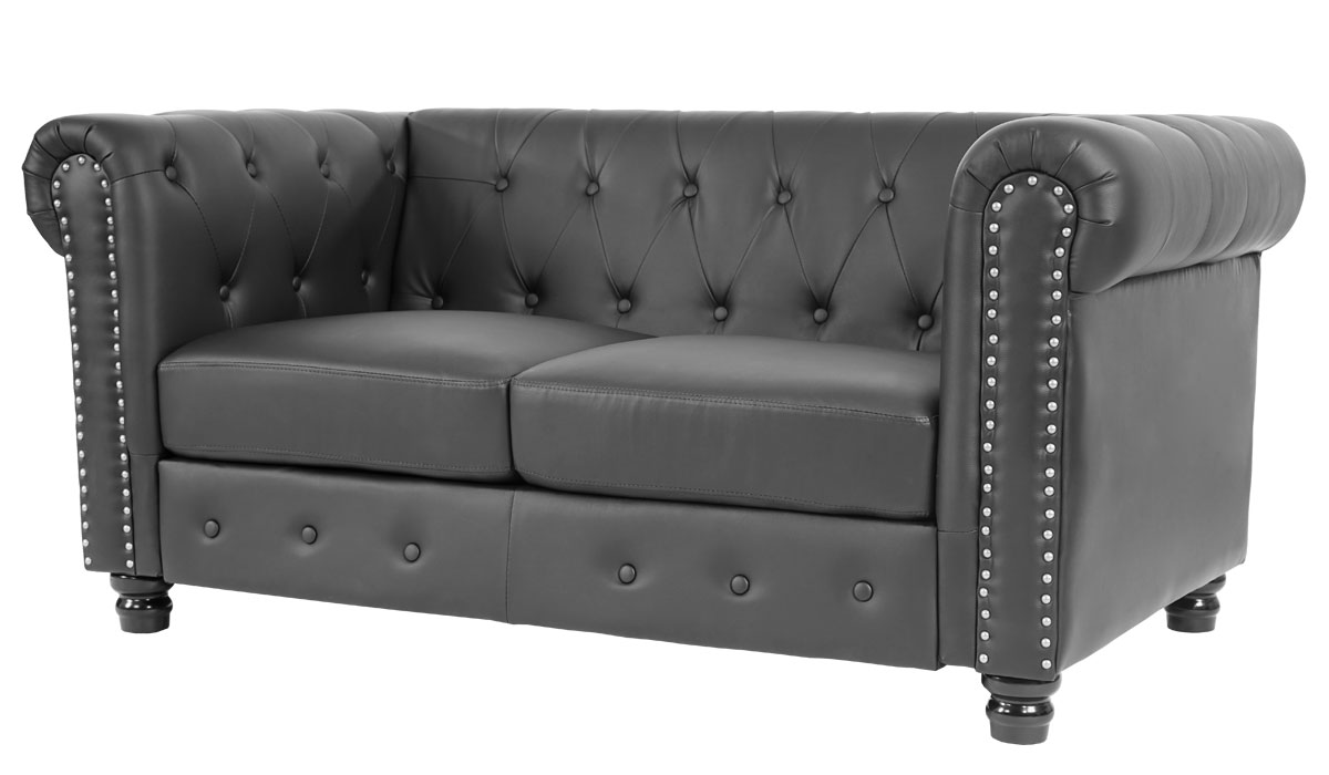 luxus 2er sofa loungesofa couch chesterfield kunstleder runde f e schwarz. Black Bedroom Furniture Sets. Home Design Ideas
