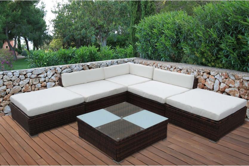 Poly rattan sofa garnitur manta ii lounge set for Lounge garnitur outdoor
