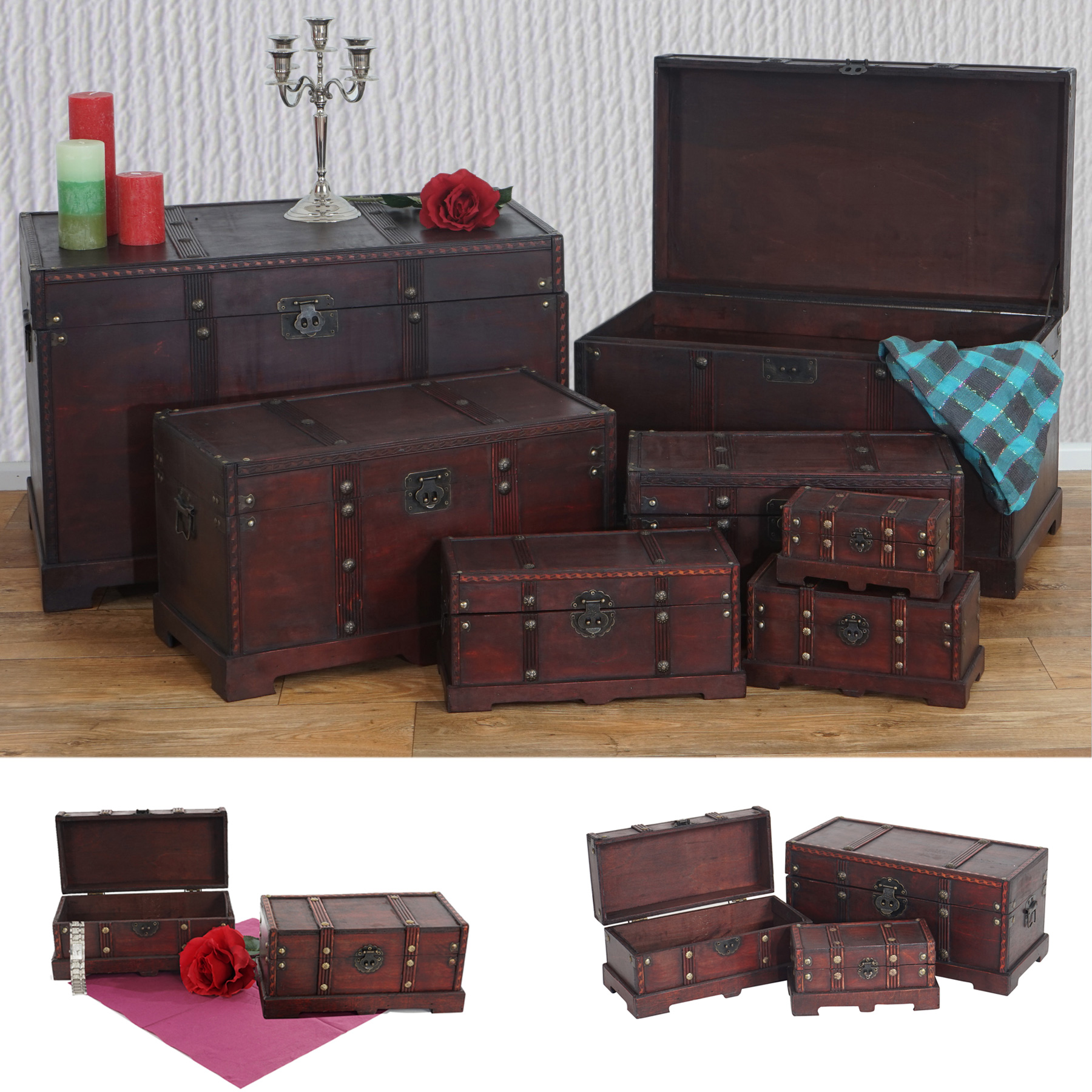 Mendler 7er Set Holztruhe Holzbox Schatztruhe Valence Antikoptik 10x21x10 bis 49x77x47cm ~ Variantenangebot 35896