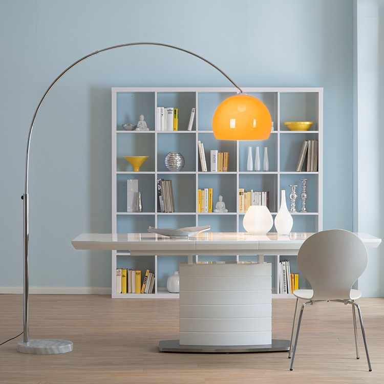 bogenlampe lounge deal ii stehleuchte standleuchte chrom 180 203cm ebay. Black Bedroom Furniture Sets. Home Design Ideas