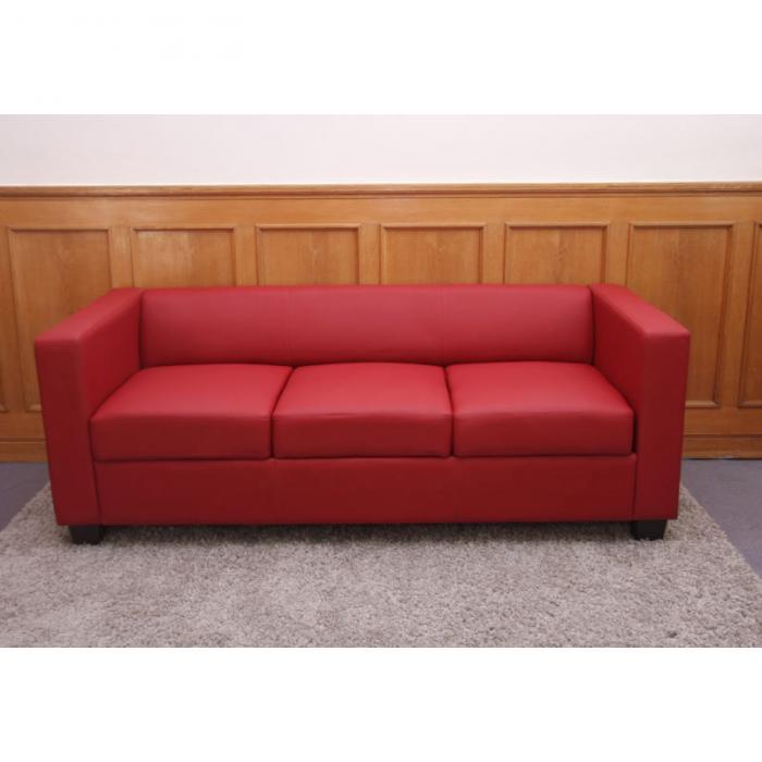 Lounge sofa leder  Sofa Couch Loungesofa Lille ~ Leder, rot
