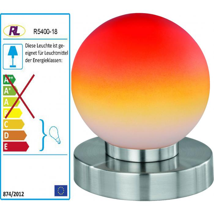 Reality|Trio Kugellampe Lampe Tischleuchte Touch Me Dimmer ~ Nickel matt, Glas opal orange