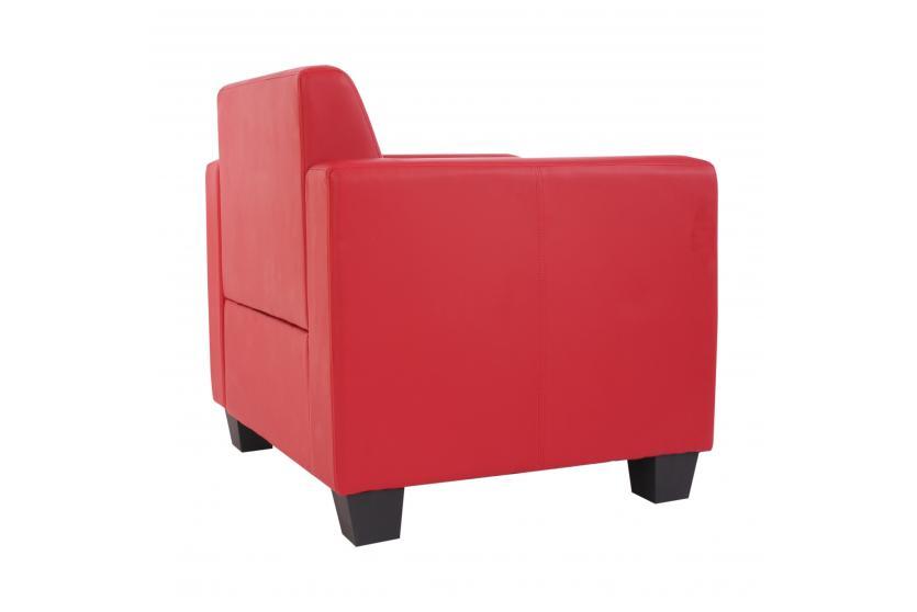 modular sessel loungesessel mit ottomane lyon kunstleder rot. Black Bedroom Furniture Sets. Home Design Ideas