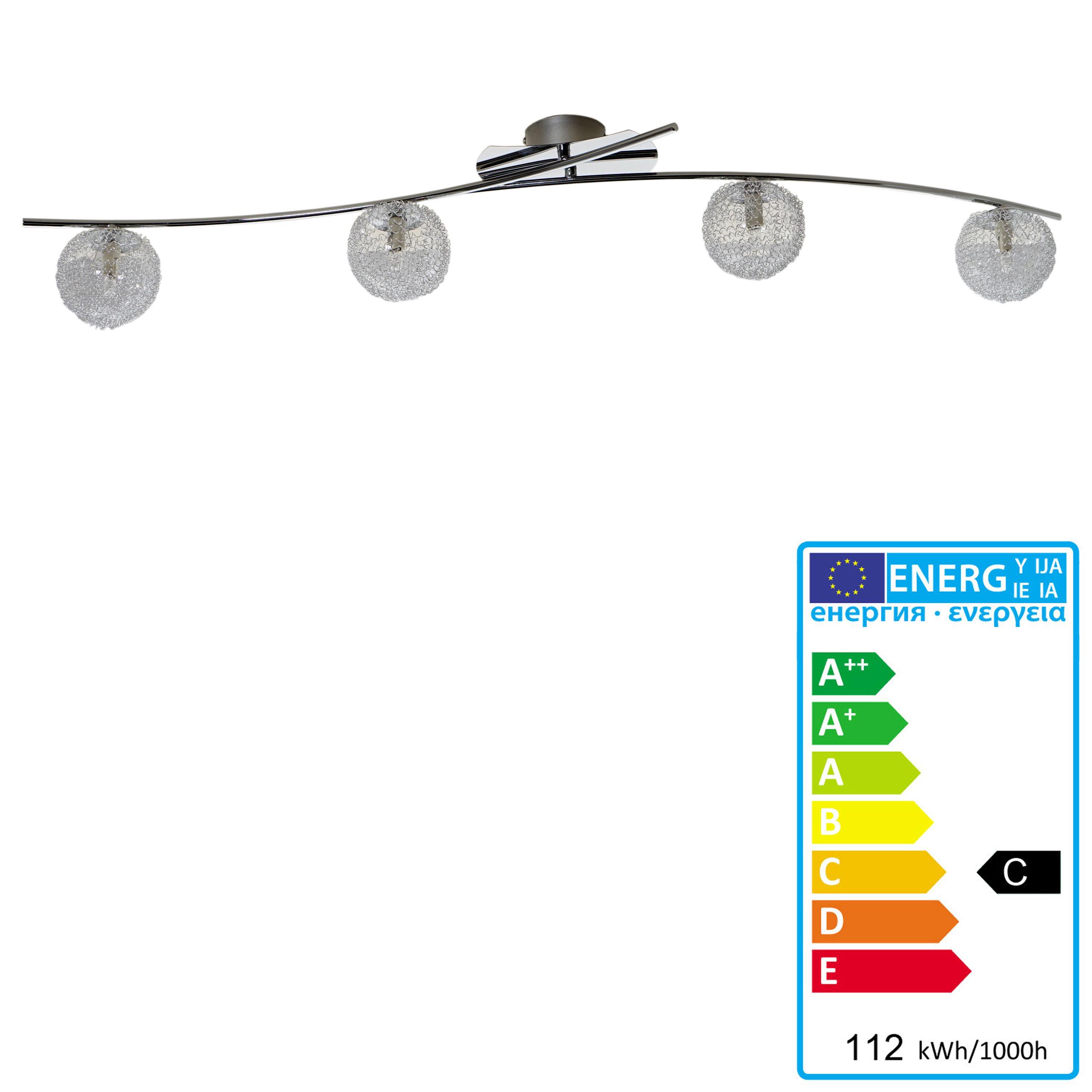 Deckenleuchte HW115, Deckenlampe Kugellampe, Drahtgeflecht, chrom ...