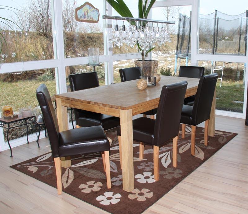 Dettagli su Set 6x sedie Littau pelle per sala da pranzo 43x56x90cm colore  a scelta