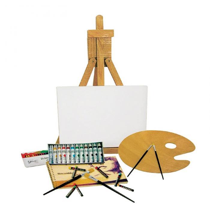 acryl farben staffelei set malset malen zeichnen. Black Bedroom Furniture Sets. Home Design Ideas