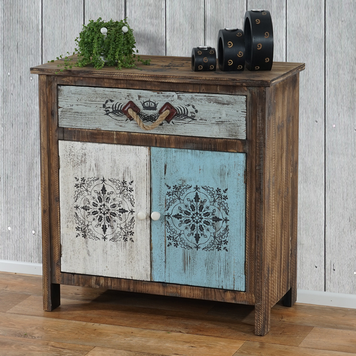 kommode funchal schubladenkommode schrank shabby look vintage 84x80x40cm. Black Bedroom Furniture Sets. Home Design Ideas