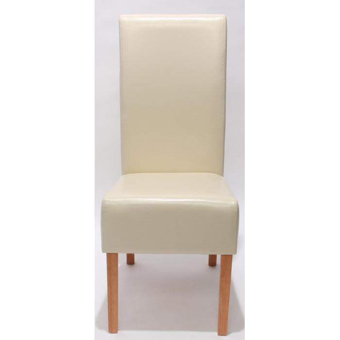 2x Esszimmerstuhl Küchenstuhl Stuhl Latina, LEDER ~ creme, helle Beine