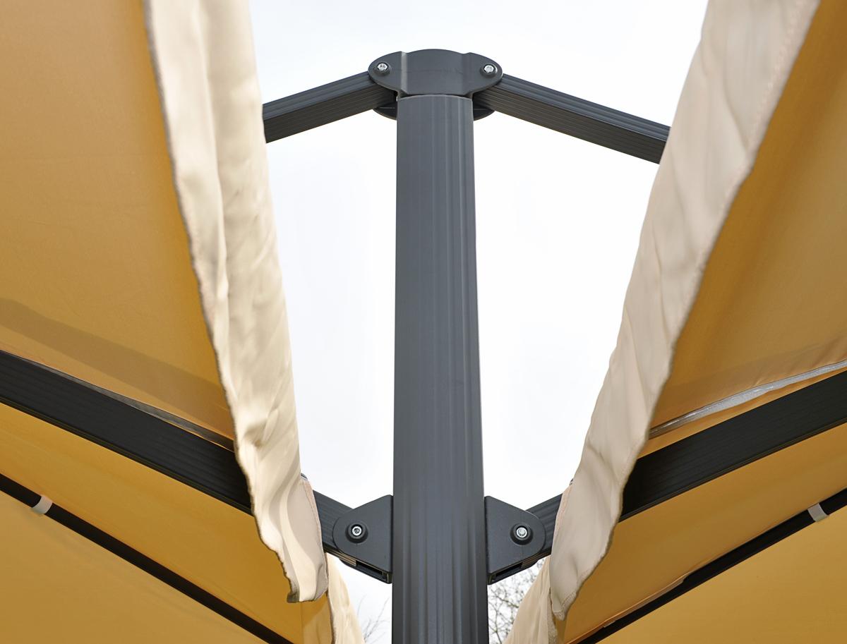 Gastronomie-Alu-Luxus-Doppel-Ampelschirm T44 Detailansicht Verbindungsstück