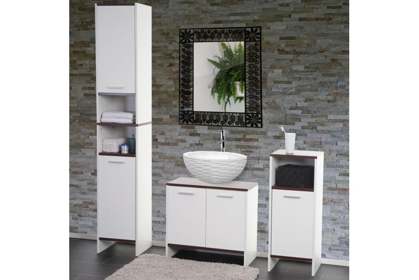 badezimmer set sonoma unterschrank hochschrank kommode wei b den braun ebay. Black Bedroom Furniture Sets. Home Design Ideas