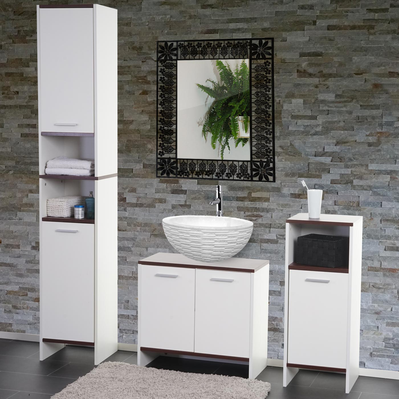badezimmer set arezzo waschbeckenunterschrank hochschrank kommode wei b den braun. Black Bedroom Furniture Sets. Home Design Ideas