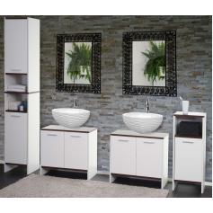 Badezimmer Set Arezzo, 2x Waschbeckenunterschrank Hochschrank Kommode ~ Weiß,  Böden Braun