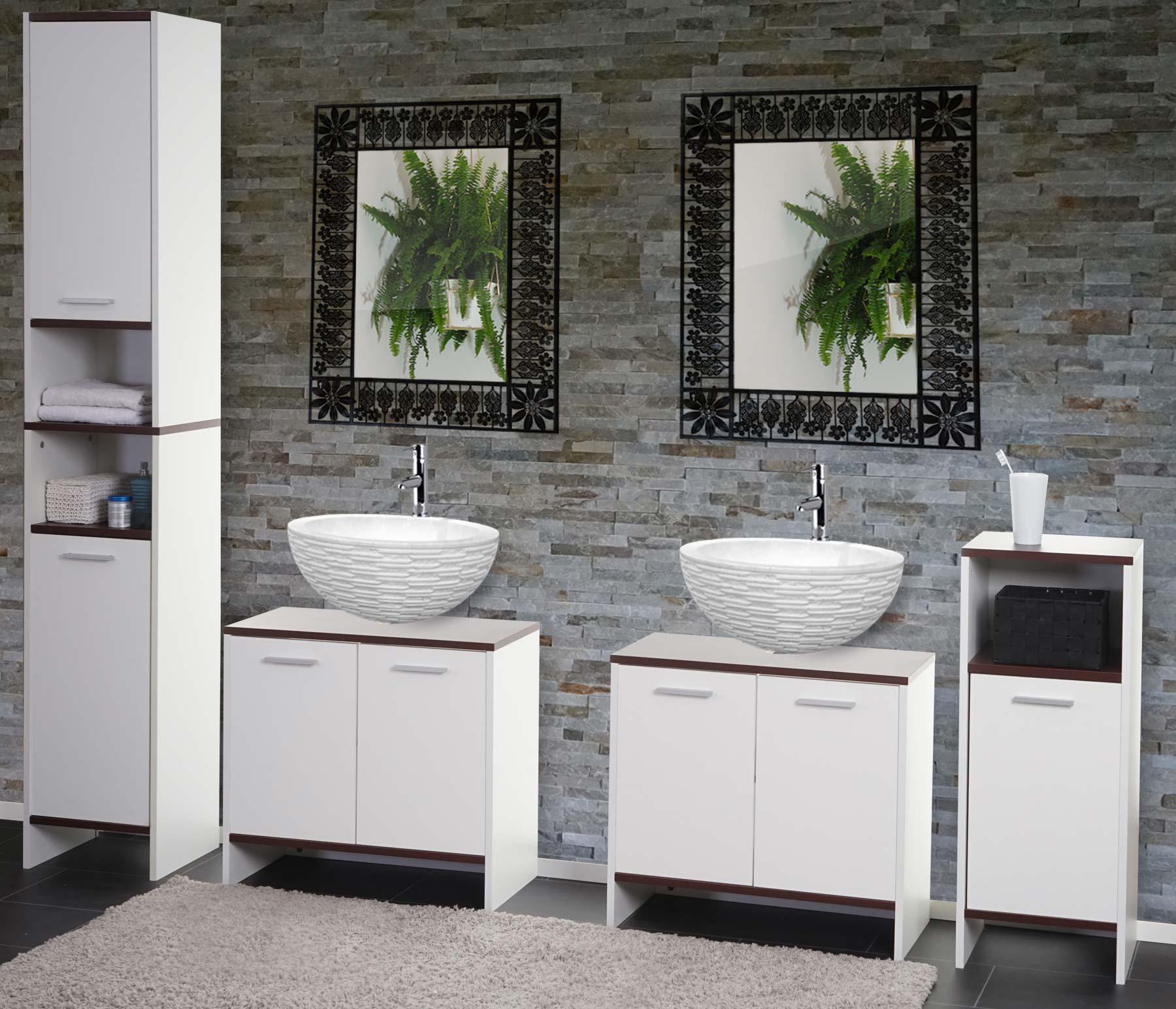 badezimmer set arezzo waschbeckenunterschrank hochschrank kommode ebay. Black Bedroom Furniture Sets. Home Design Ideas