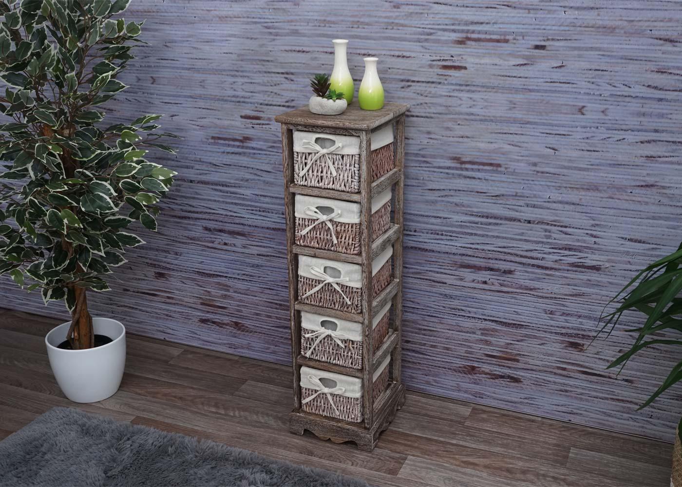 Regal Kommode mit 5 Korbschubladen Ambiente-Bild