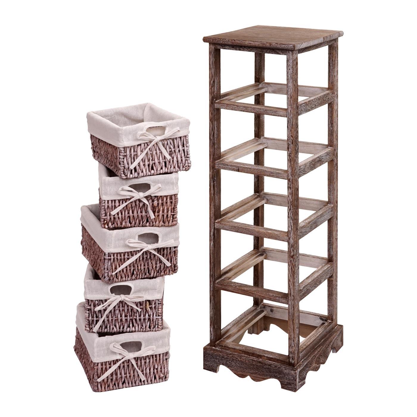Regal Kommode mit 5 Korbschubladen Aufbau