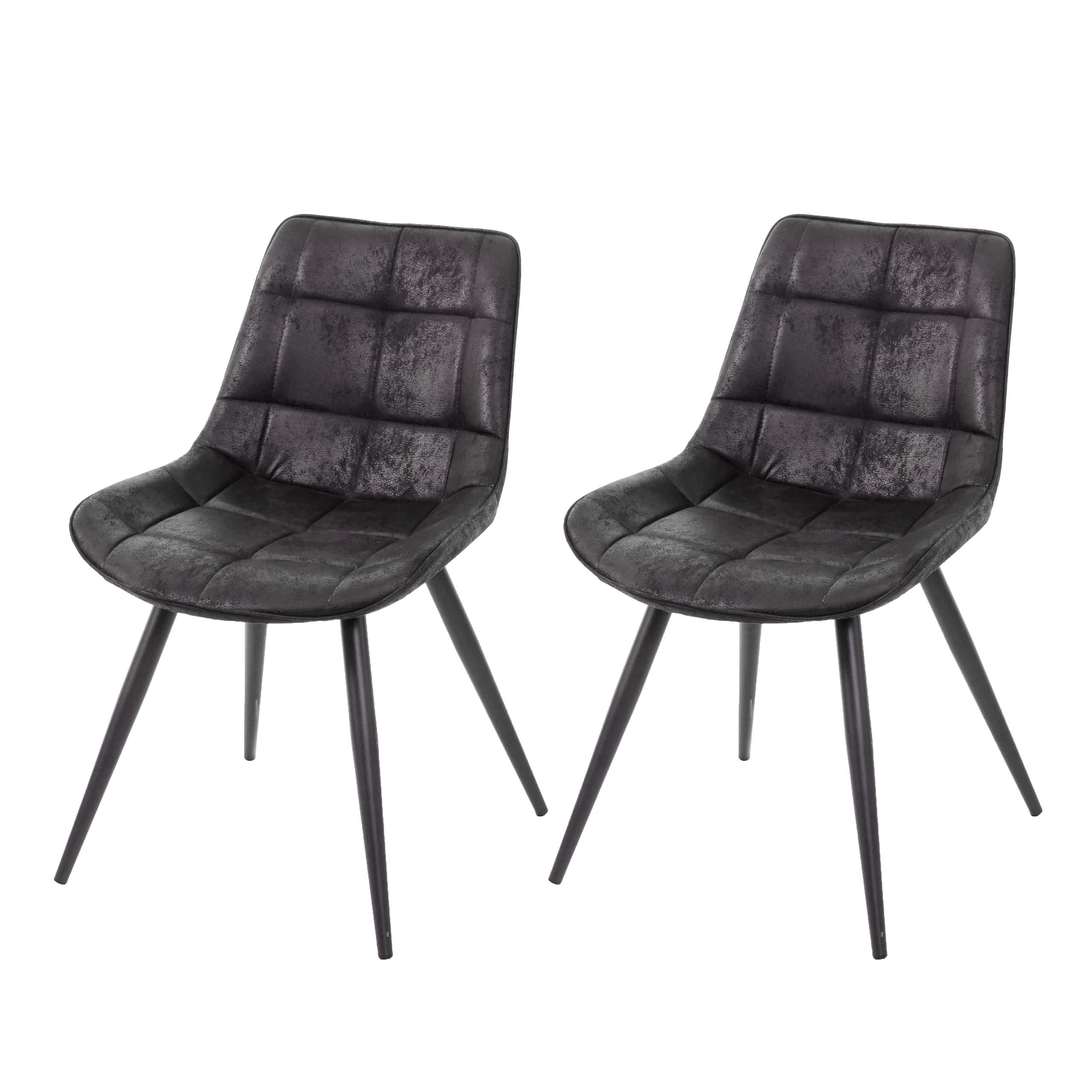 2x Esszimmerstuhl HWC E57, Stuhl Cocktailstuhl Küchenstuhl Polsterstuhl, Retro Wildleder Optik ~ StoffTextil schwarz