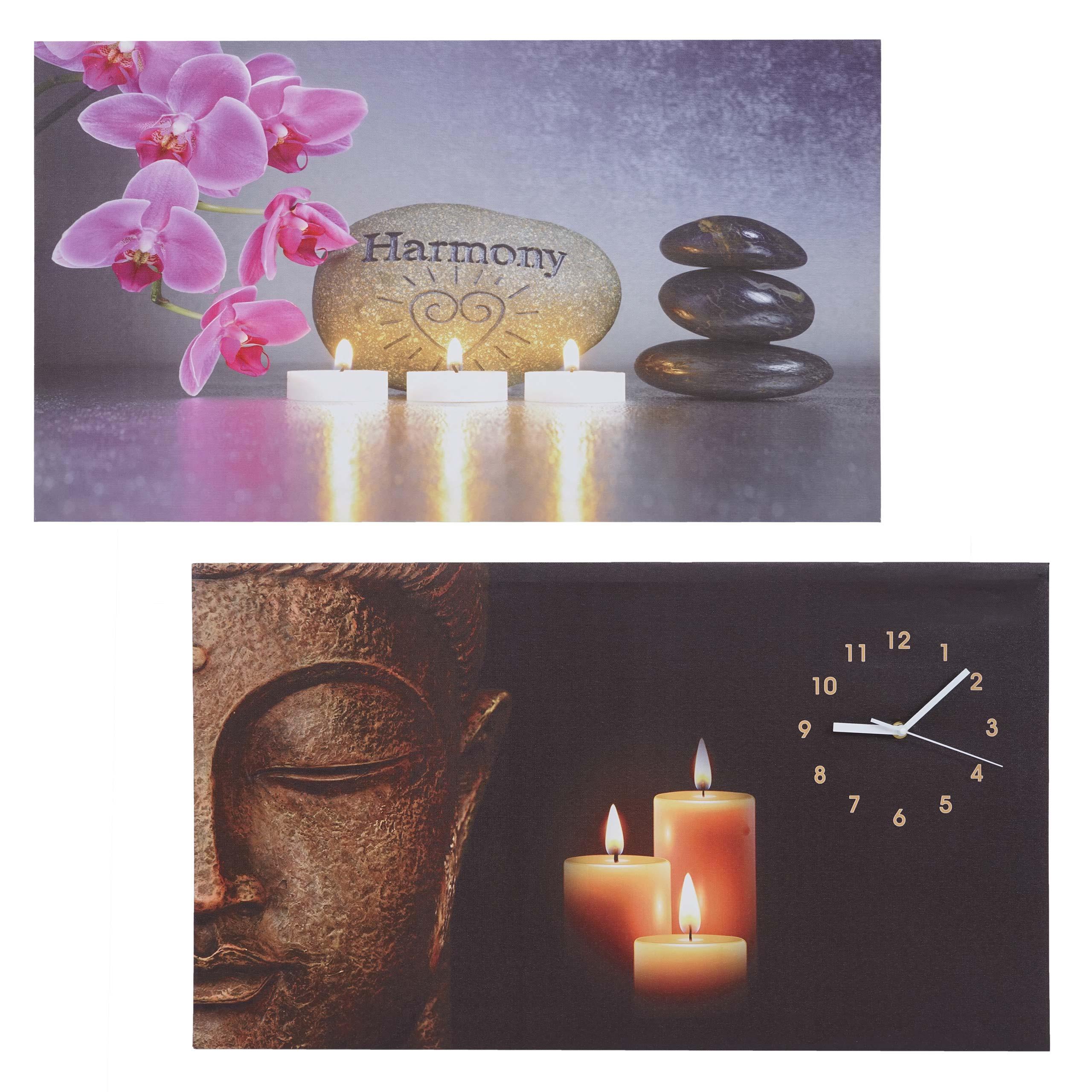 Mendler 2x LED-Bild, Leinwandbild Leuchtbild Wandbild, Timer Buddha/Harmony Wanduhr 70x40cm ~ Variantenangeb 69284