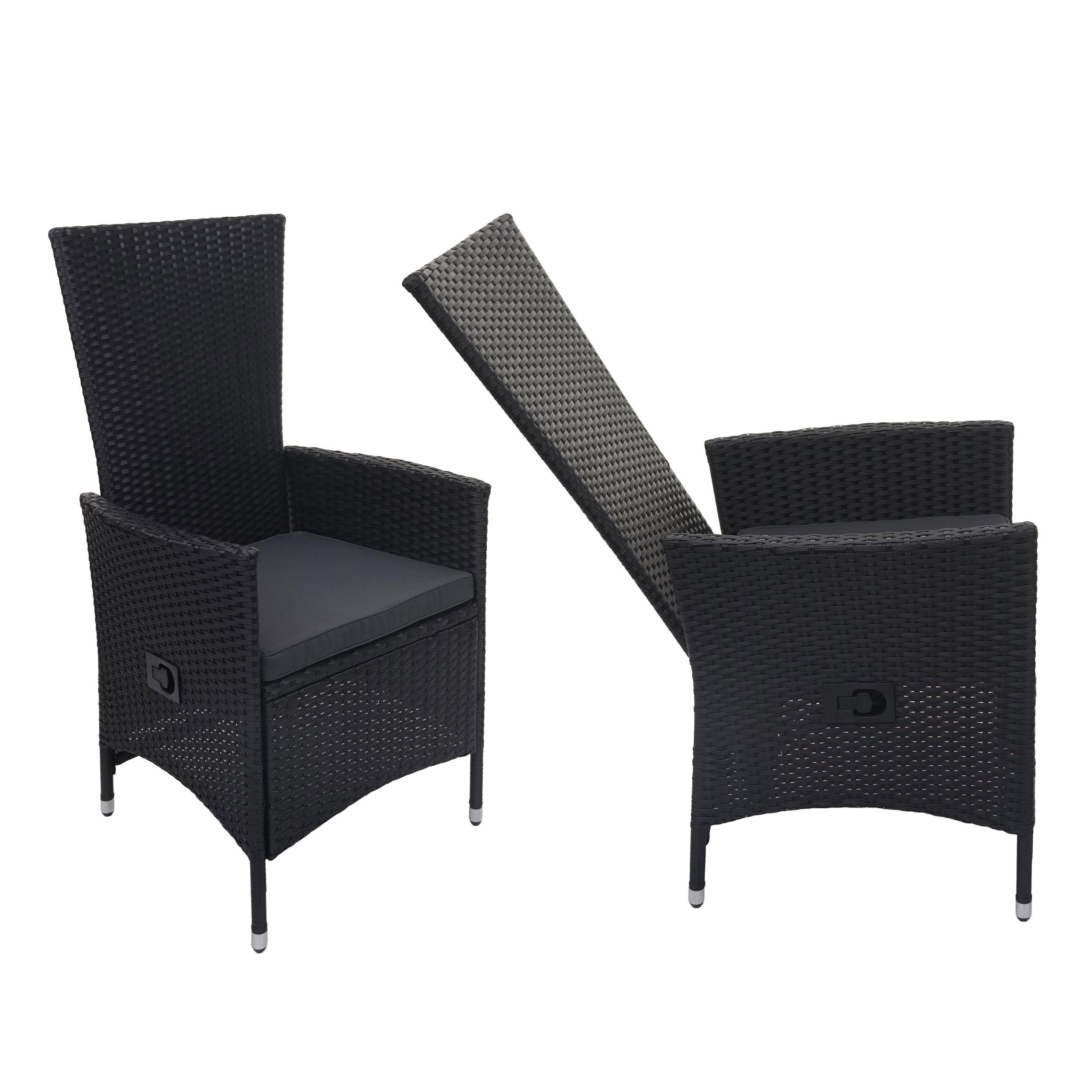 Mendler 2x Poly-Rattan Sessel HWC-F49, Rattanstuhl Balkonstuhl Gartenstuhl, verstellbare Lehne ~ Variantenan 69743