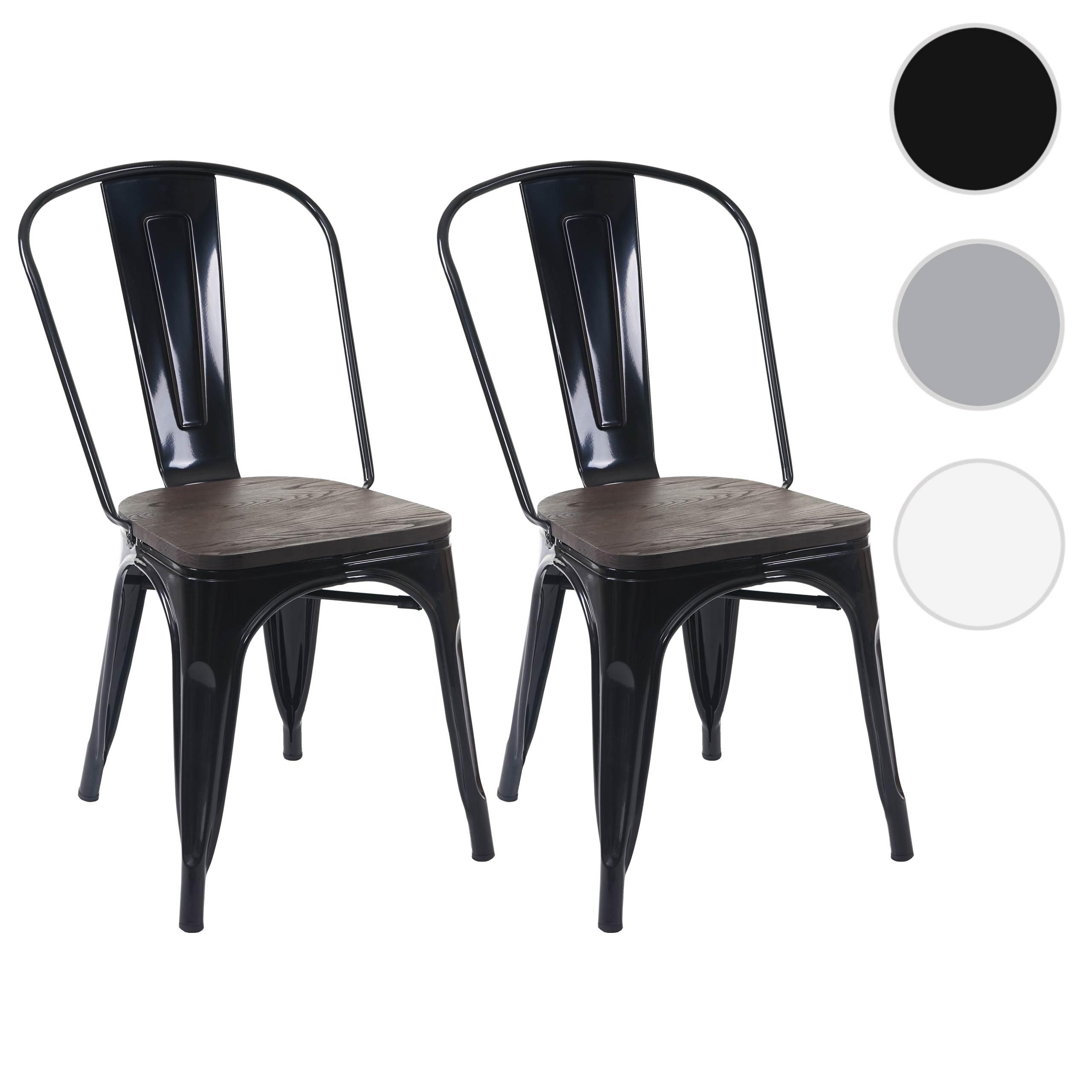 Mendler 2x Stuhl HWC-A73 inkl. Holz-Sitzfläche, Bistrostuhl Stapelstuhl, Metall Industriedesign stapelbar ~ 70404