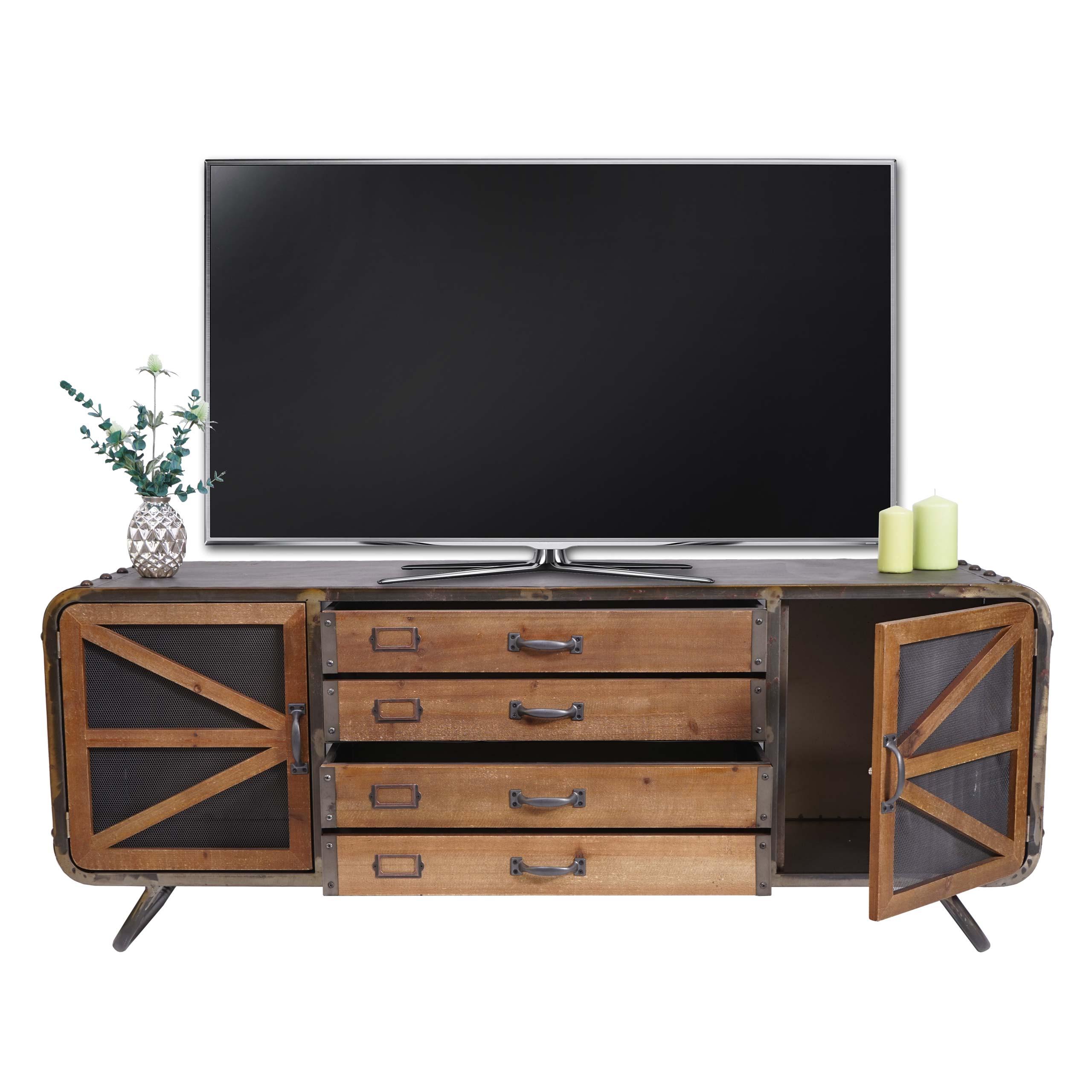 Mendler TV-Rack HWC-F91, Fernsehtisch Lowboard Kommode, Industrial Kommode Tanne Holz Metall 55x139x41cm, br 70612
