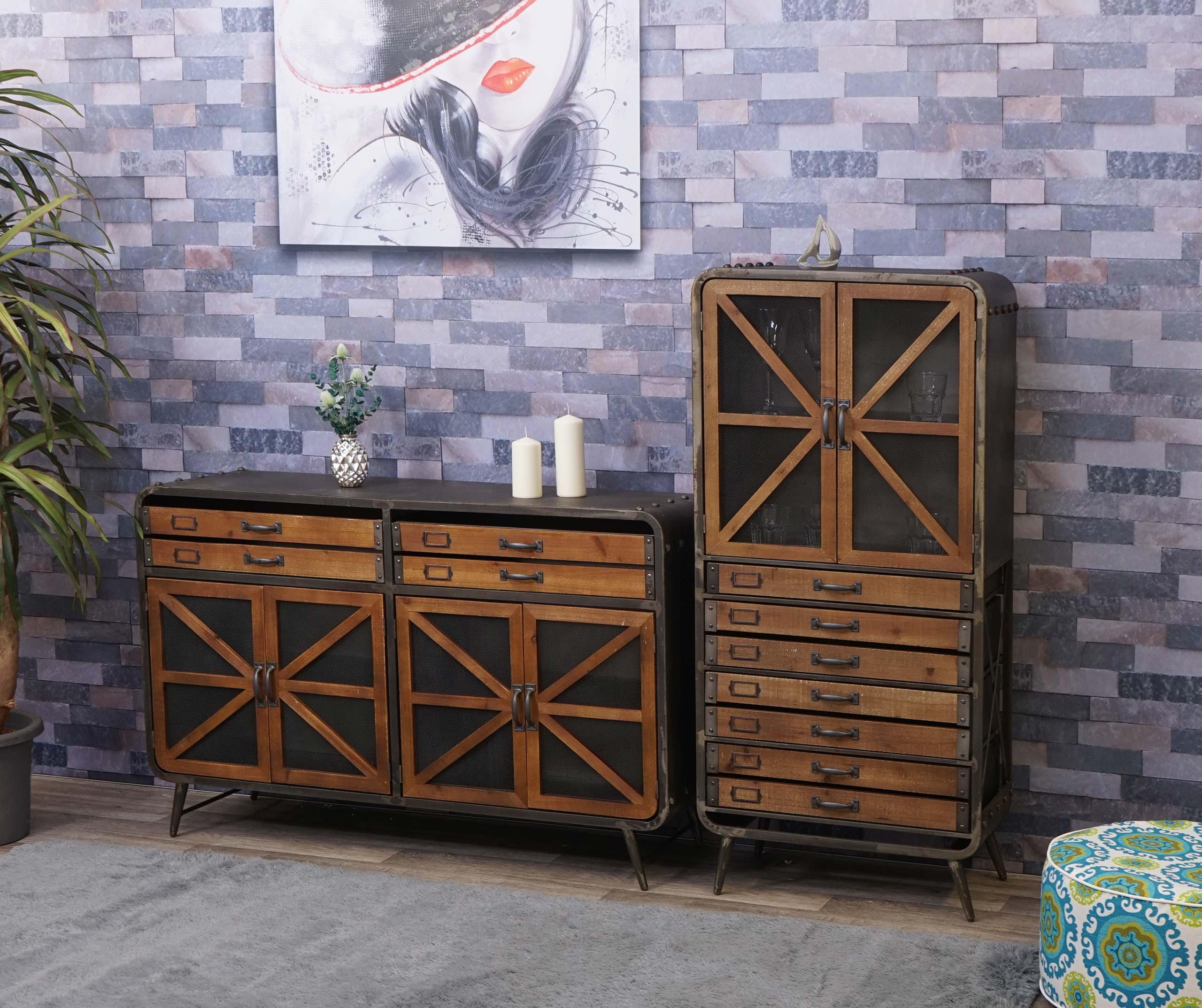 Mendler Wohnzimmer-Set HWC-F91, Sideboard Kommode Highboard Hochschrank, Industrial Tanne Holz Metall, braun 70613+70614