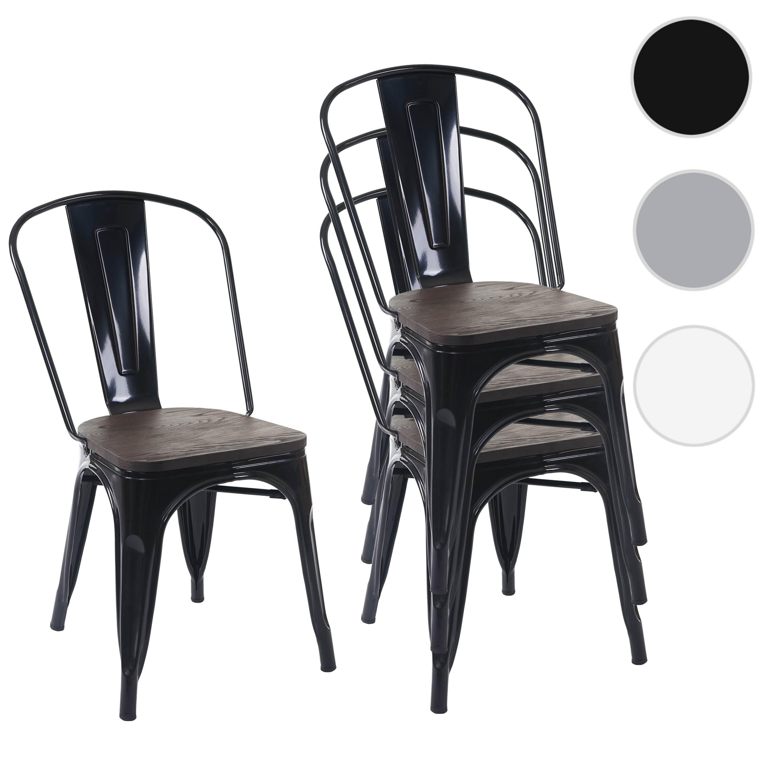Mendler 4x Stuhl HWC-A73 inkl. Holz-Sitzfläche, Bistrostuhl Stapelstuhl, Metall Industriedesign stapelbar ~ 70775
