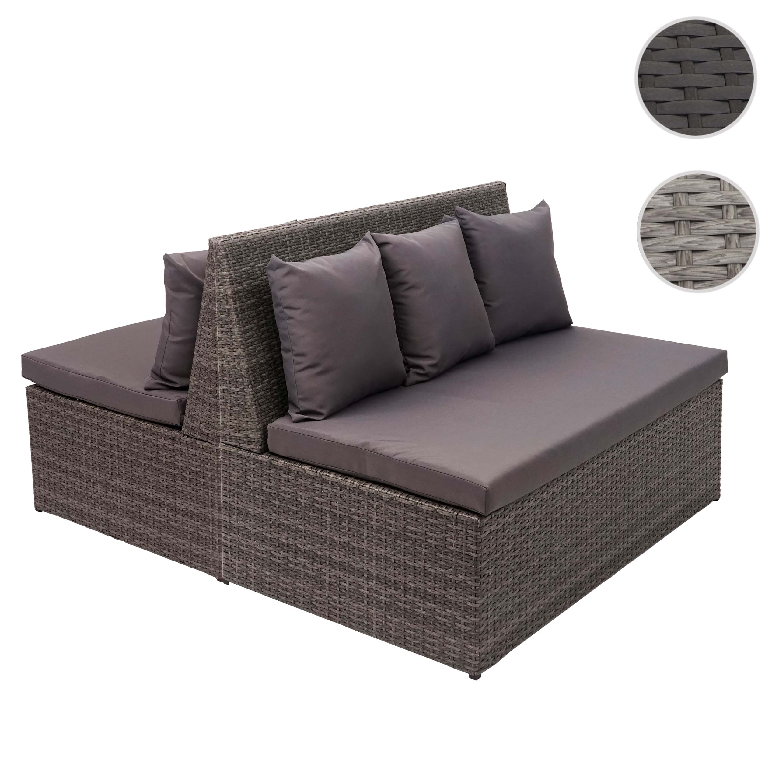 Mendler 2x Poly-Rattan 2er Sofa HWC-G16, Lounge-Gartenbank Sitzbank Sessel, Gastronomie 120cm ~ schwarz, Kis 2x70868