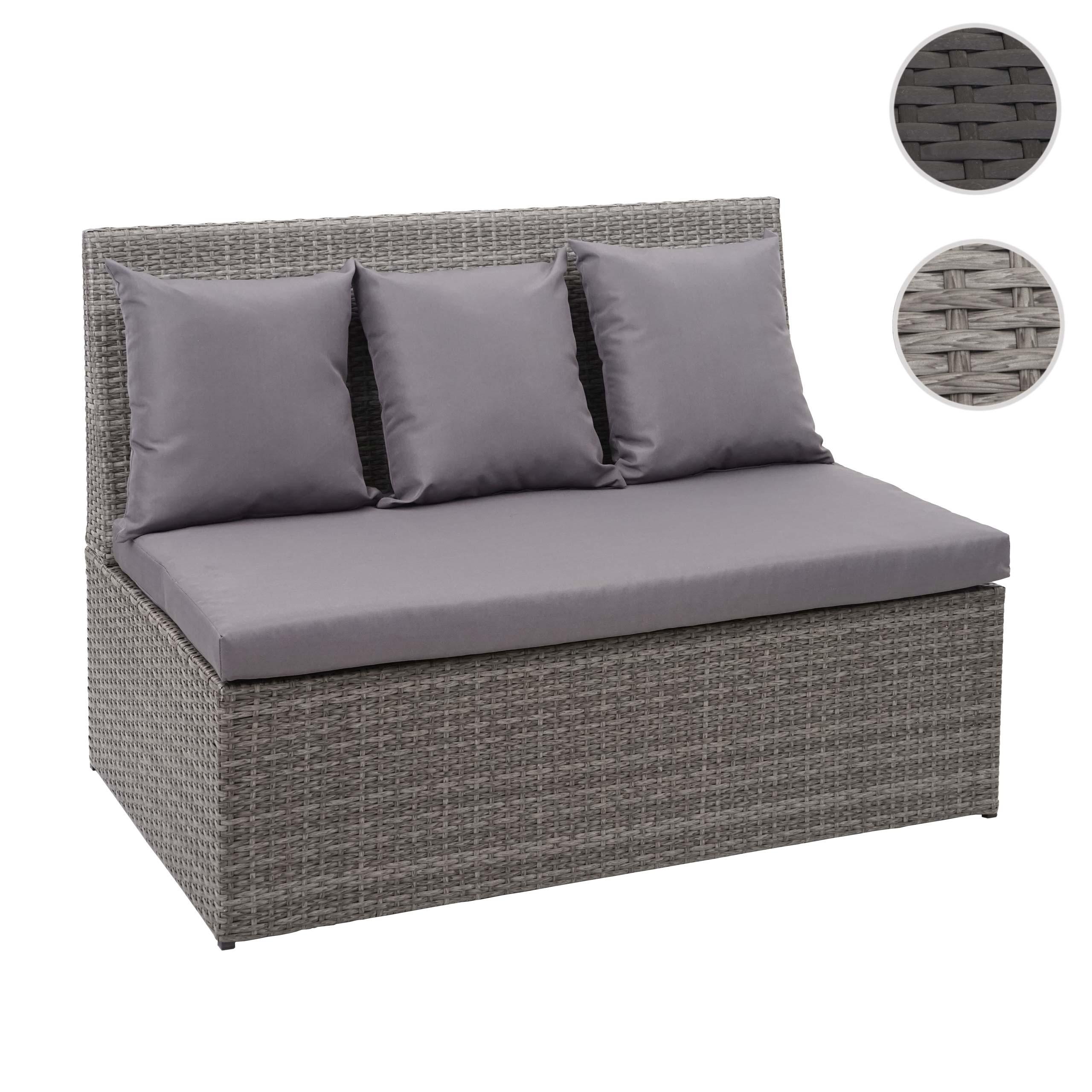 Mendler Poly-Rattan 2er Sofa HWC-G16, Lounge-Gartenbank Sitzbank Sessel, Gastronomie 120cm ~ Variantenangebo 70868