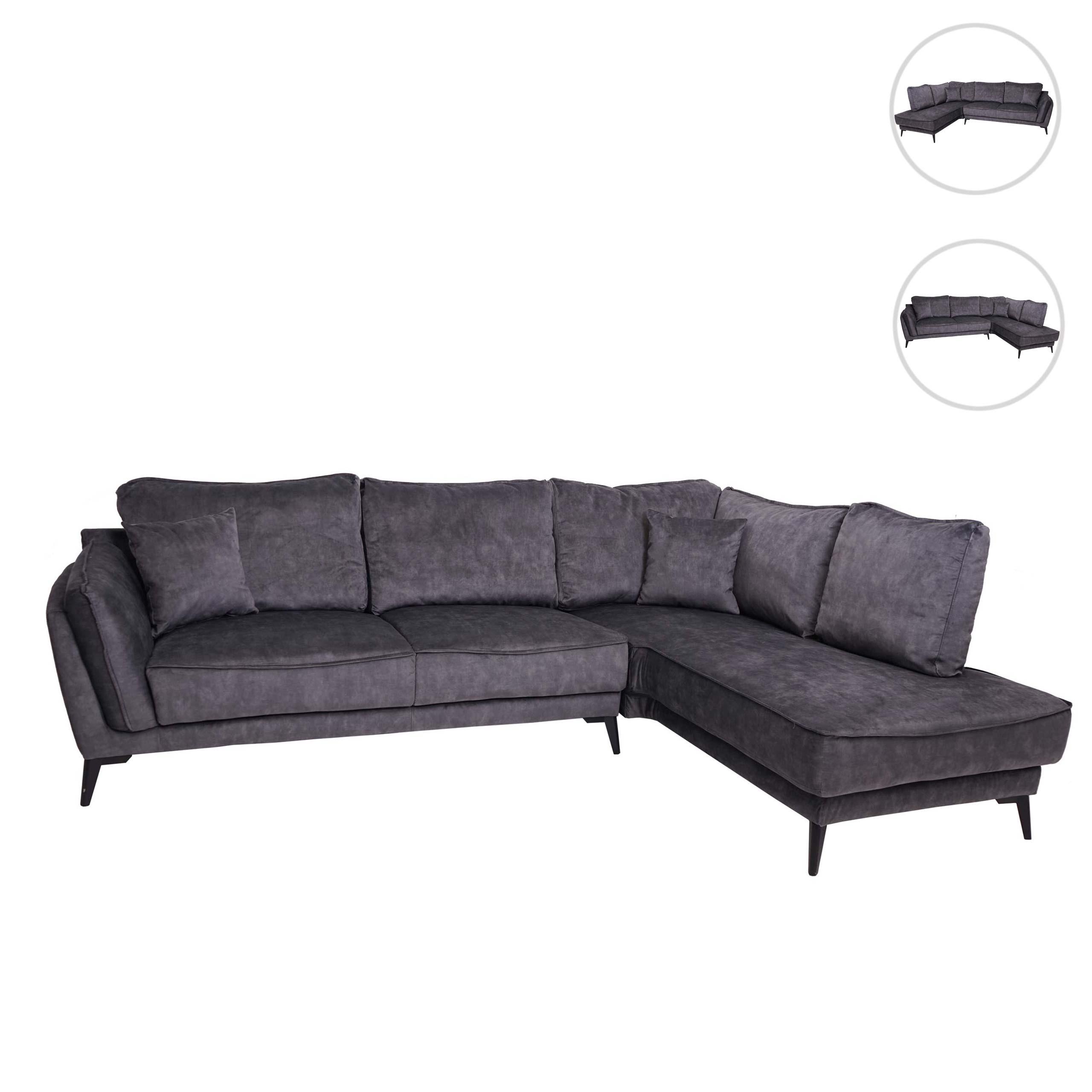 Mendler Sofa HWC-G43, Couch Ecksofa L-Form 3-Sitzer, Liegefläche Nosagfederung Taschenfederkern ~ Variantena 71517+71518
