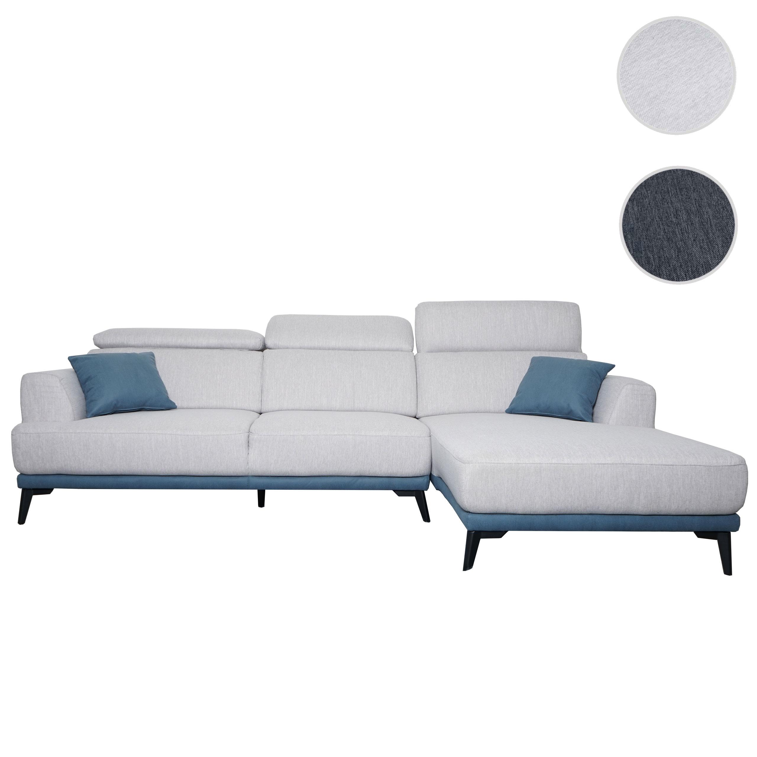 Mendler Sofa HWC-G44, Couch Ecksofa L-Form 3-Sitzer, Liegefläche Nosagfederung Taschenfederkern verstellbar 71519+71520