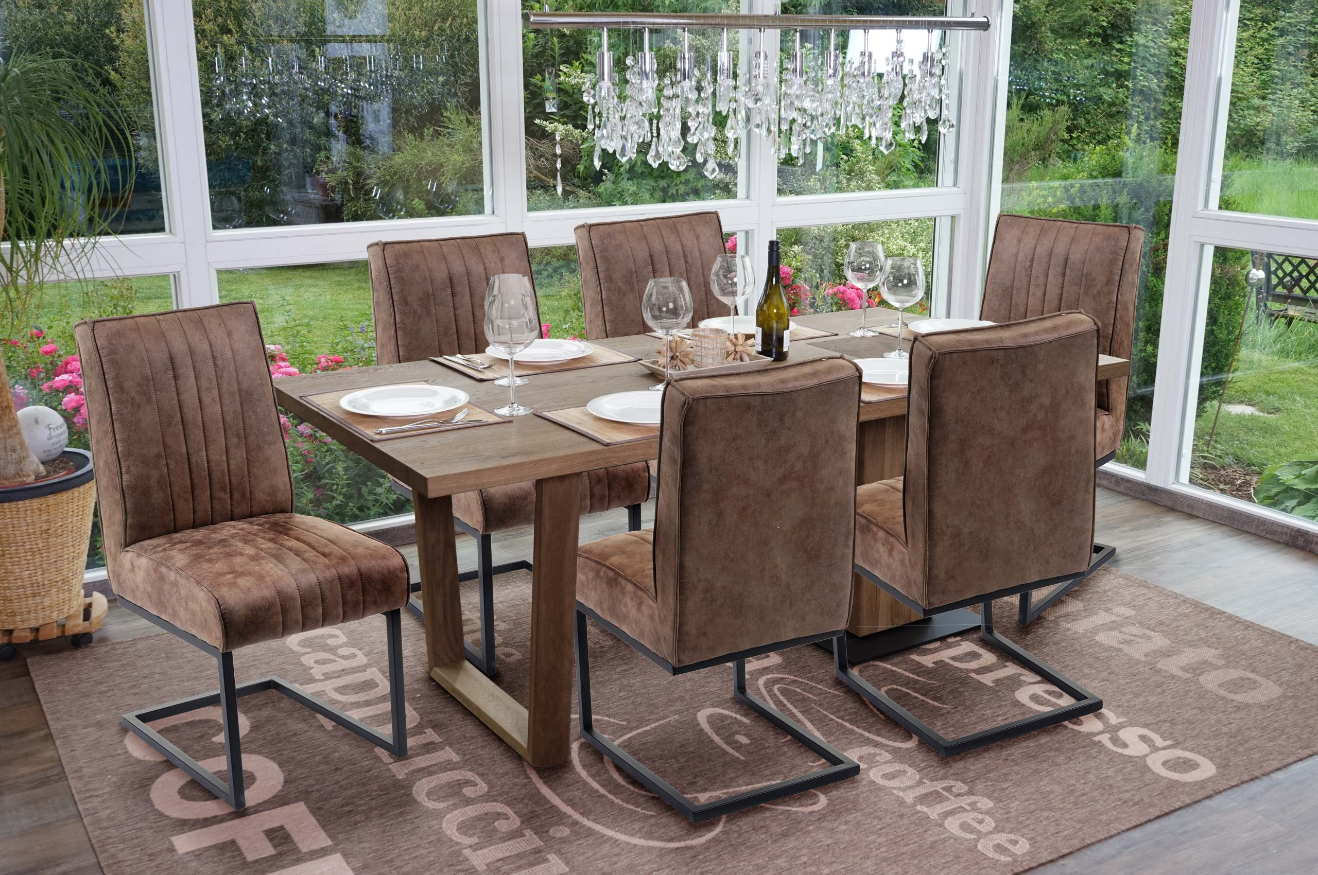 6x Esszimmerstuhl Hwc G57 Kuchenstuhl Freischwinger Stuhl Federkern Stoff Textil Wildleder Optik Vintage Braun