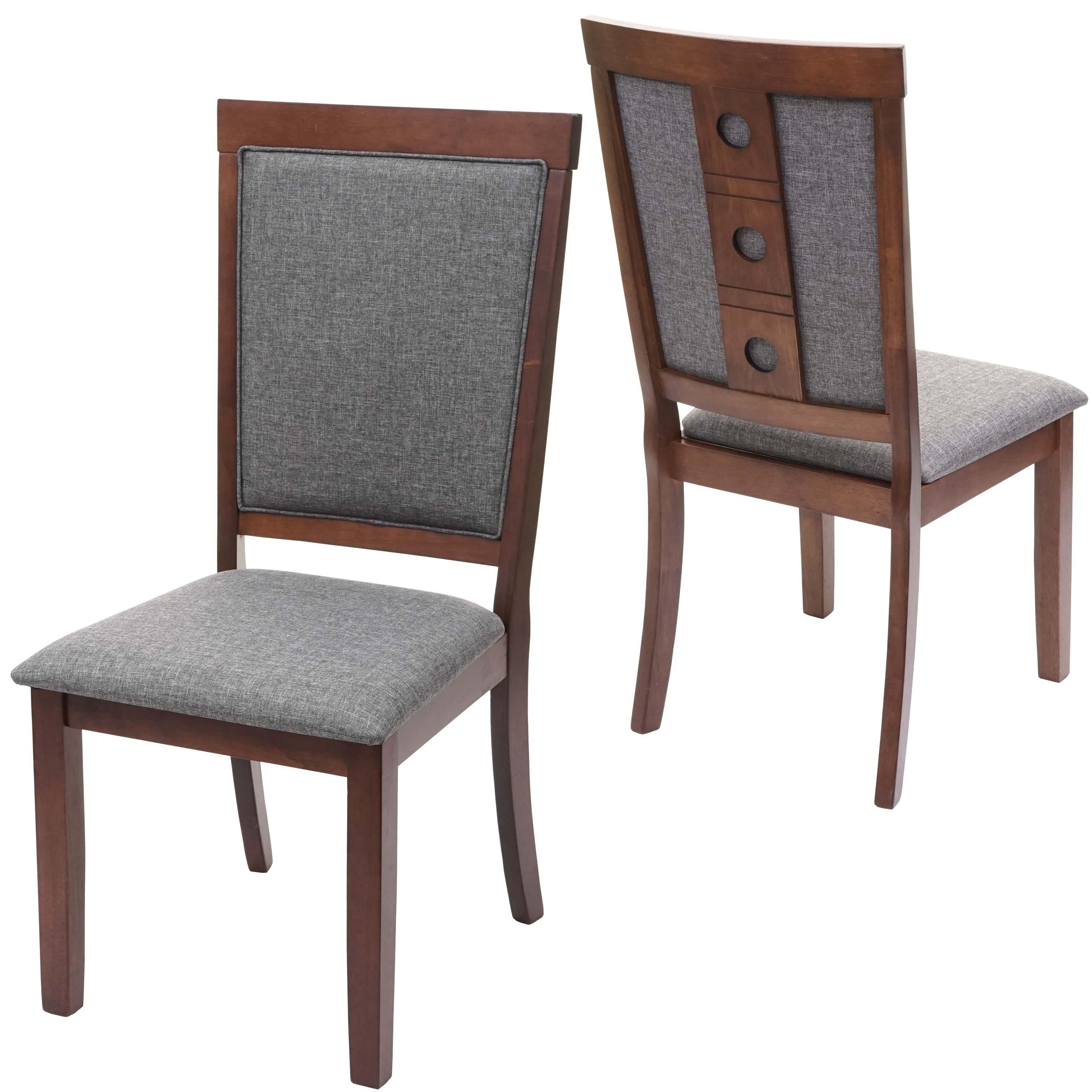 2x Esszimmerstuhl Hwc G61 Kuchenstuhl Lehnstuhl Stuhl Stoff Textil Massiv Holz Dunkles Gestell Grau
