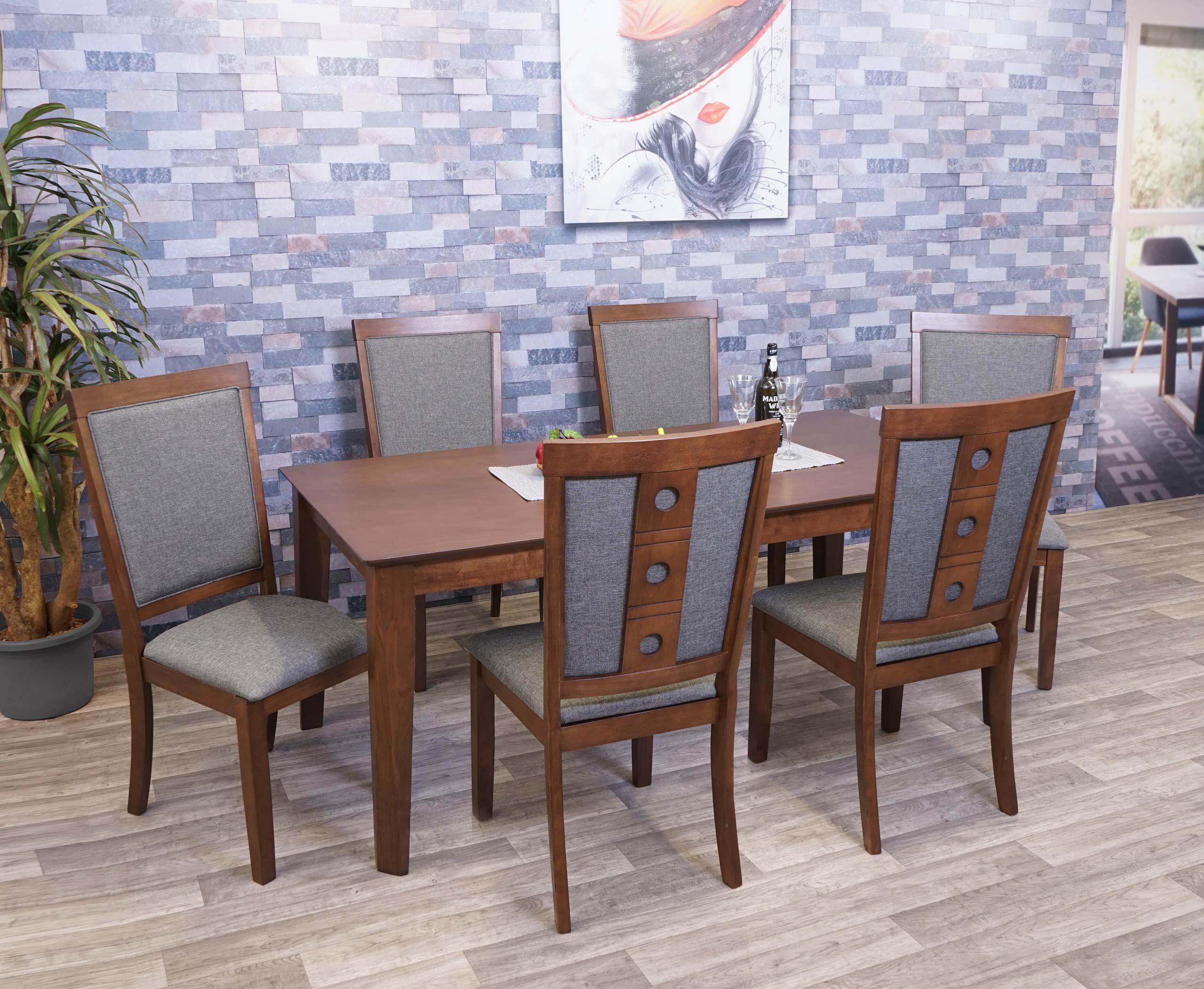 Mendler Esszimmer-Set HWC-G61, Sitzgruppe Esszimmergruppe Esszimmergarnitur, Stoff/Textil Massiv-Holz ~ Vari 3x71809+71816