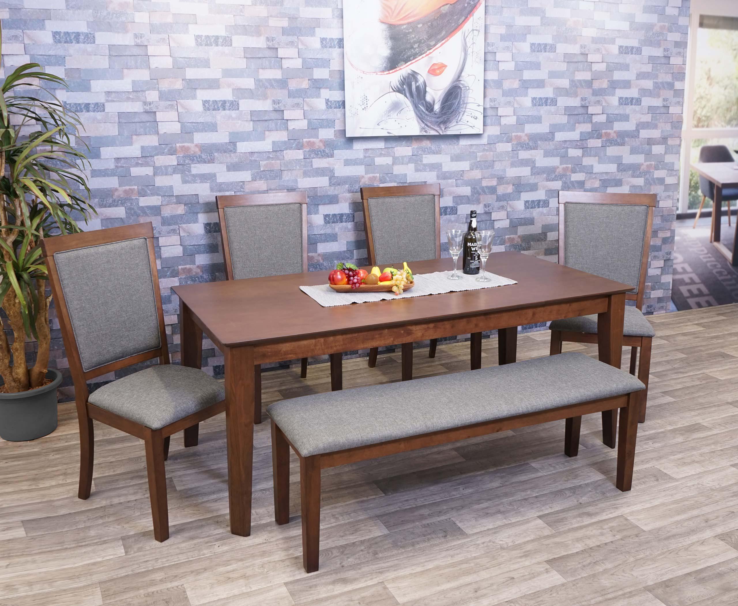 Mendler Esszimmer-Set HWC-G61, Essgruppe Esszimmergruppe Esszimmergarnitur Sitzgruppe, Stoff/Textil Massiv-H 2x71809+71815+71817