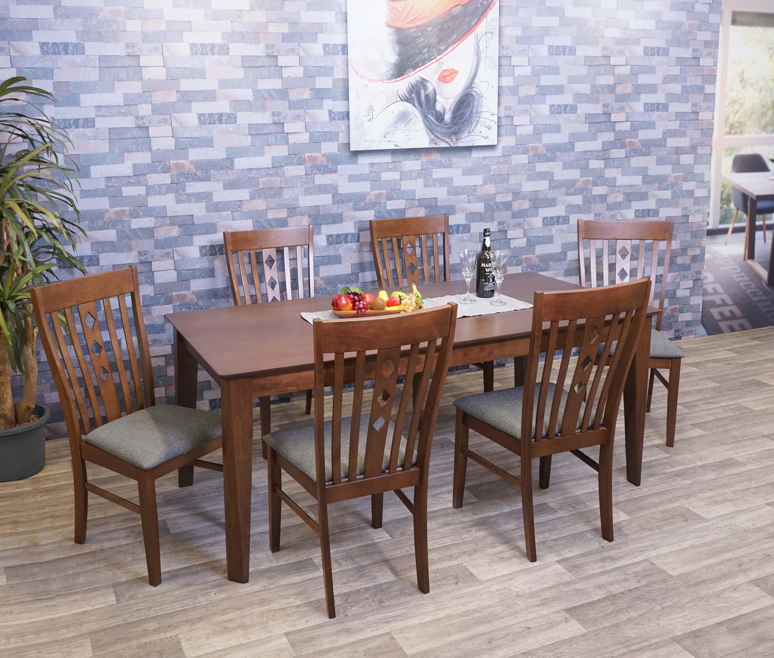 Mendler Esszimmer-Set HWC-G62, Sitzgruppe Esszimmergruppe Esszimmergarnitur, Stoff/Textil Massiv-Holz ~ Vari 3x71811+71815