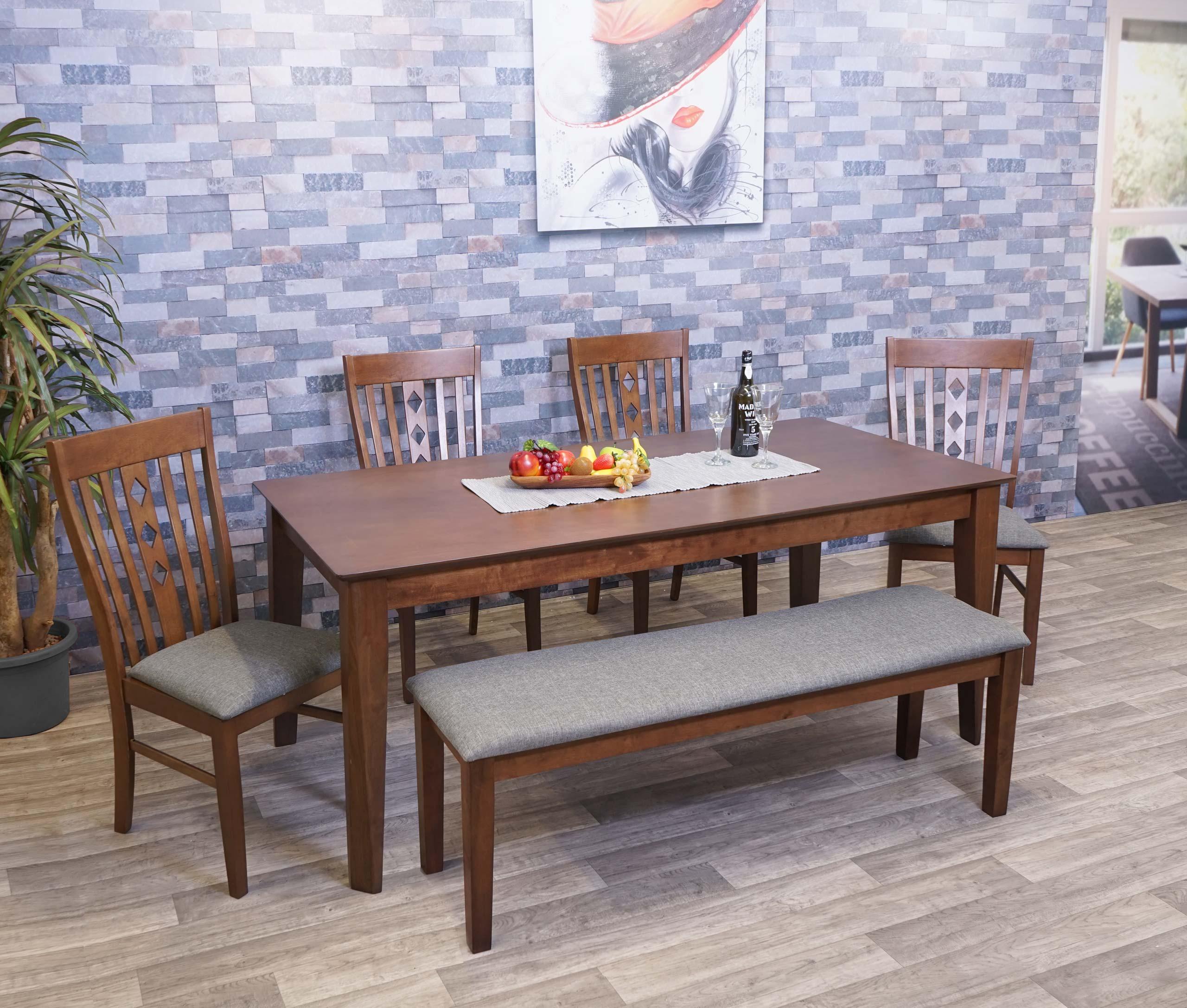 Mendler Esszimmer-Set HWC-G62a, Essgruppe Esszimmergruppe Esszimmergarnitur Sitzgruppe, Stoff/Textil Massiv- 2x71811+71816+71819