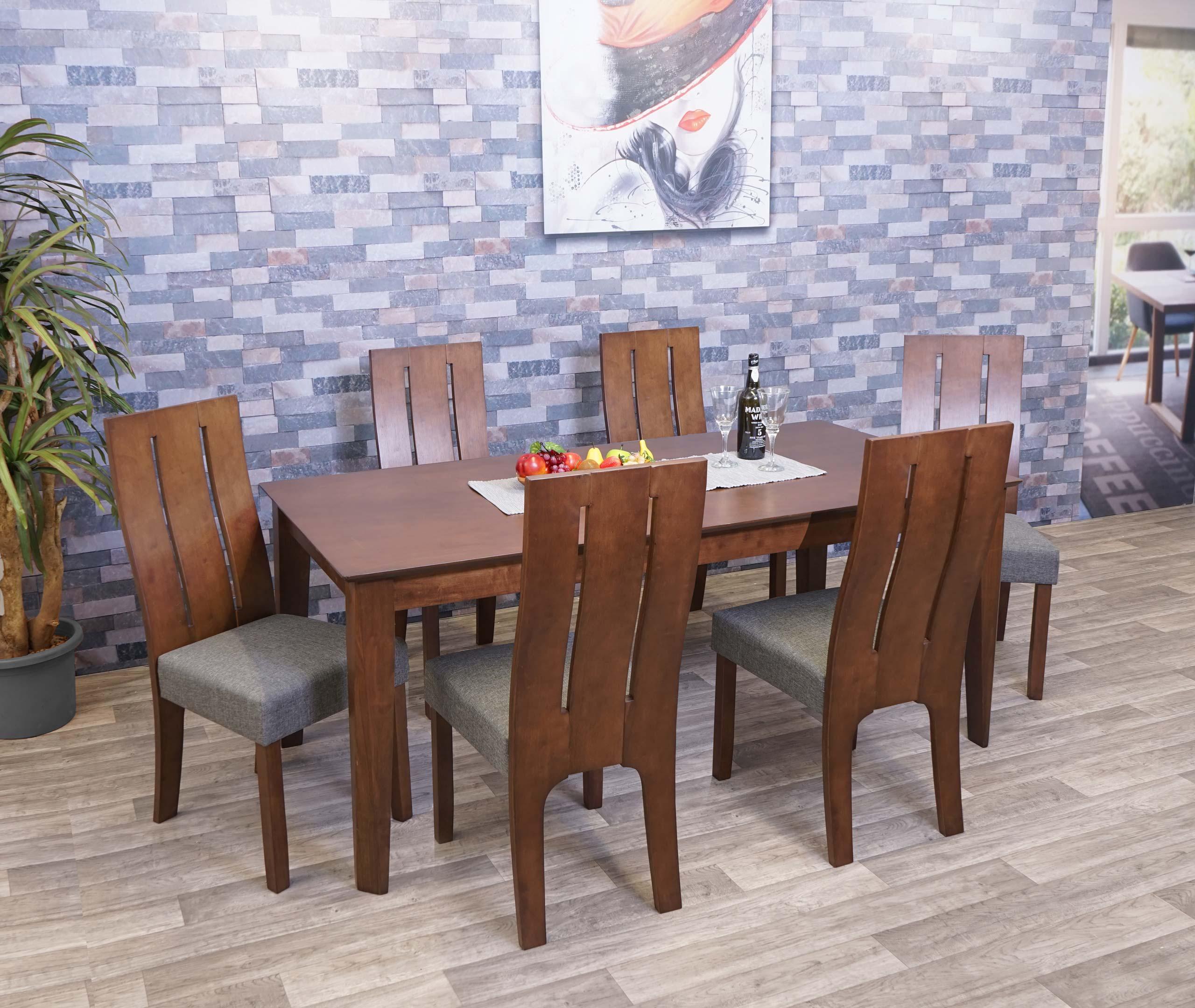 Mendler Esszimmer-Set HWC-G63, Sitzgruppe Esszimmergruppe Esszimmergarnitur, Stoff/Textil Massiv-Holz ~ Vari 3x71813+71815