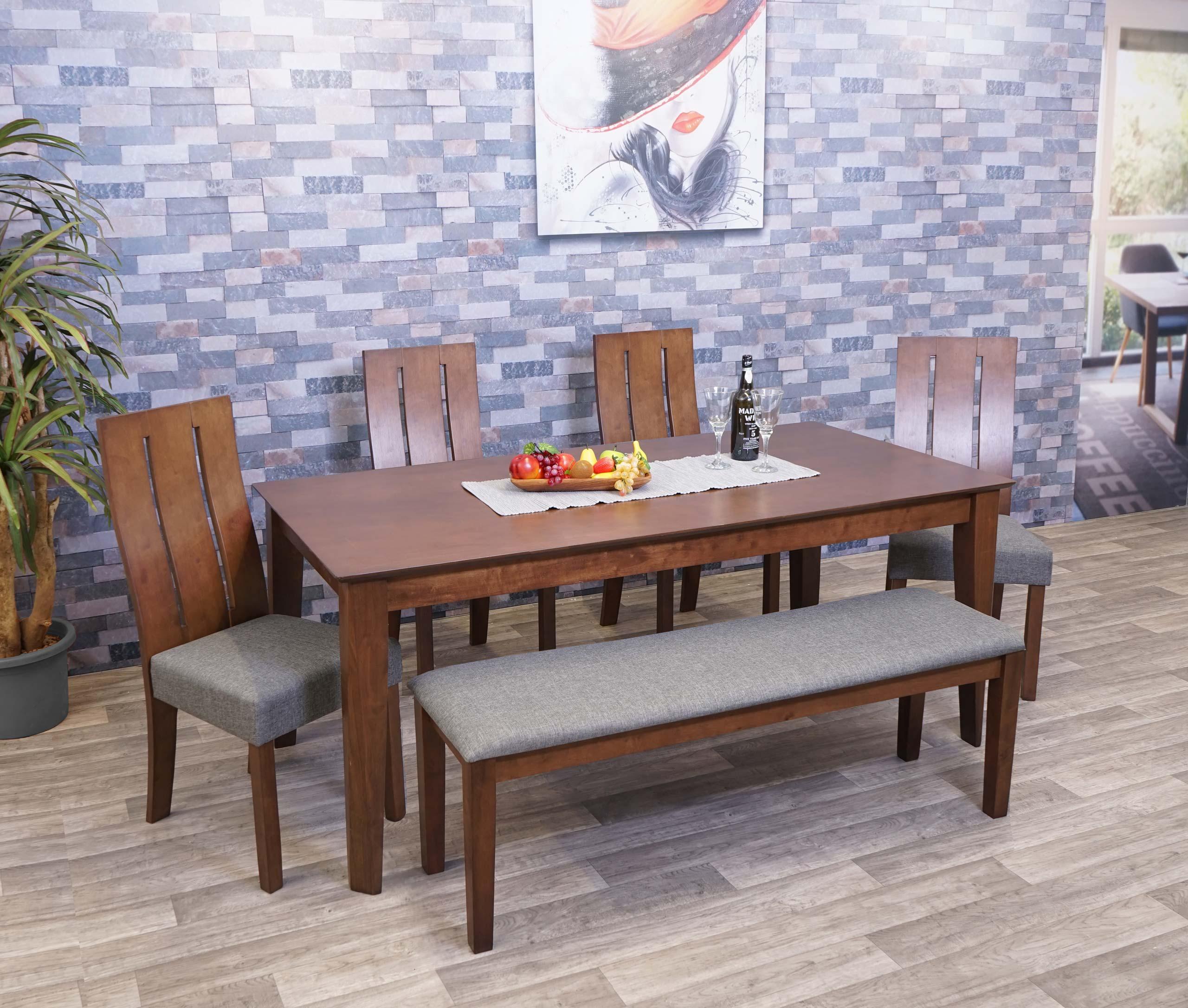 Mendler Esszimmer-Set HWC-G63, Essgruppe Esszimmergruppe Esszimmergarnitur Sitzgruppe, Stoff/Textil Massiv-H 2x71813+71815+71817