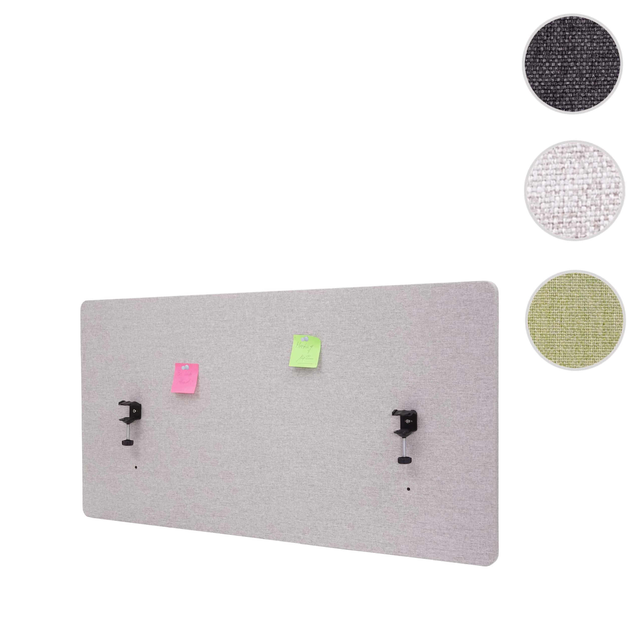 Mendler Akustik-Tischtrennwand HWC-G75, Büro-Sichtschutz Schreibtisch Pinnwand, doppelwandig Stoff/Textil ~ 71929+71943