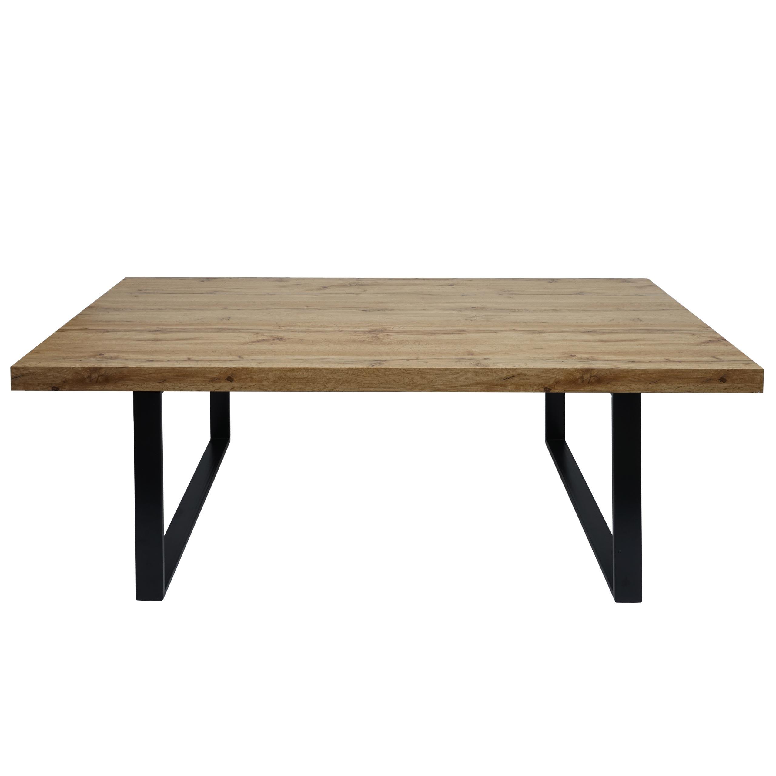 Esstisch HWC G86, Esszimmertisch Küchentisch Holztisch Tisch, Eiche Optik Metall Füße schwarz 190x95cm