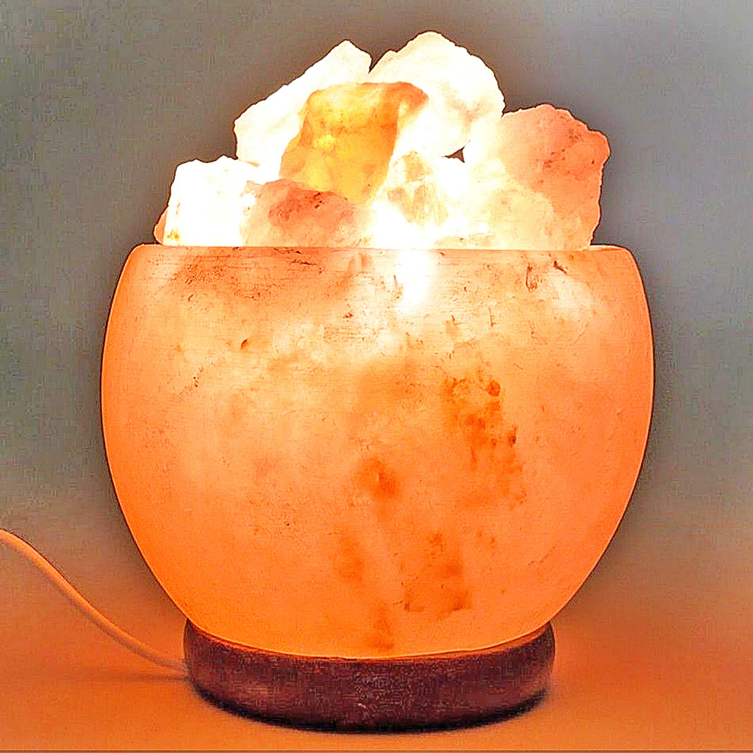 Mendler Salzkristall- Leuchte HWC-G97, Tischlampe Tischleuchte Nachtlampe, Stein 15x14x14cm ~ Variantenangeb 72207