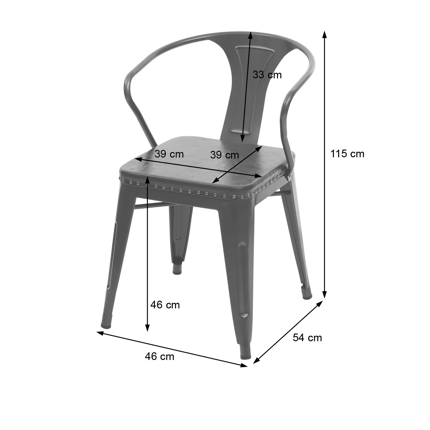 HWC-H10 Bemaßungsbild Stuhl