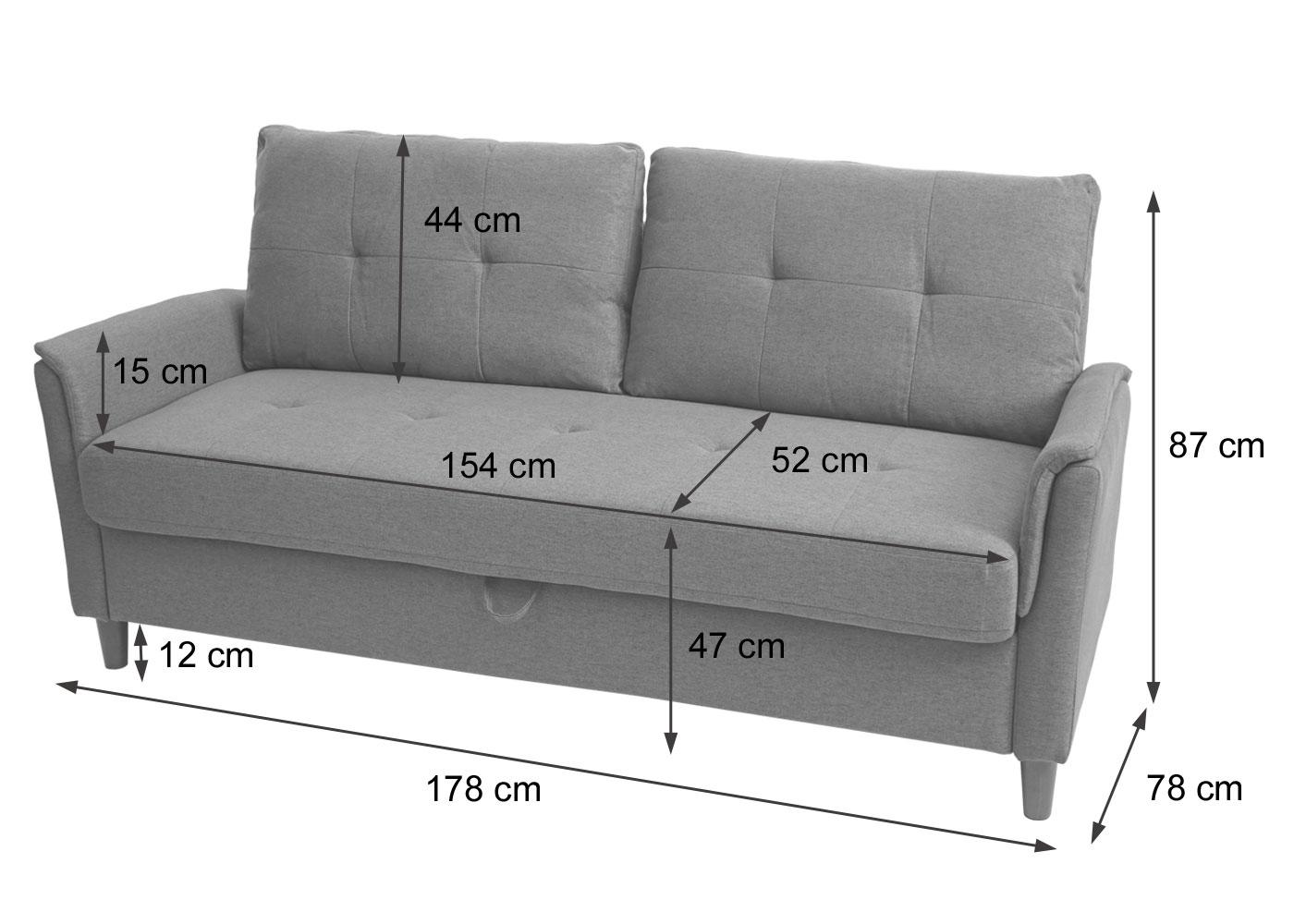 HWC-H23 3er Sofa Bemaßungsbild