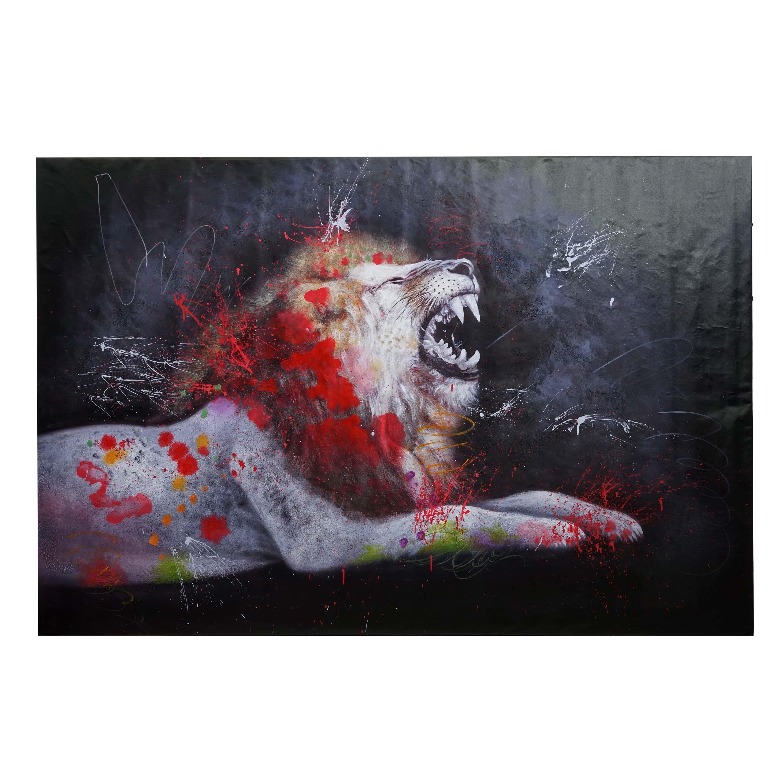 Mendler Ölgemälde Löwe HWC-H25, Leinwandbild Wandgemälde Gemälde, handgemaltes XL Wandbild ~ Variantenangebo 72761