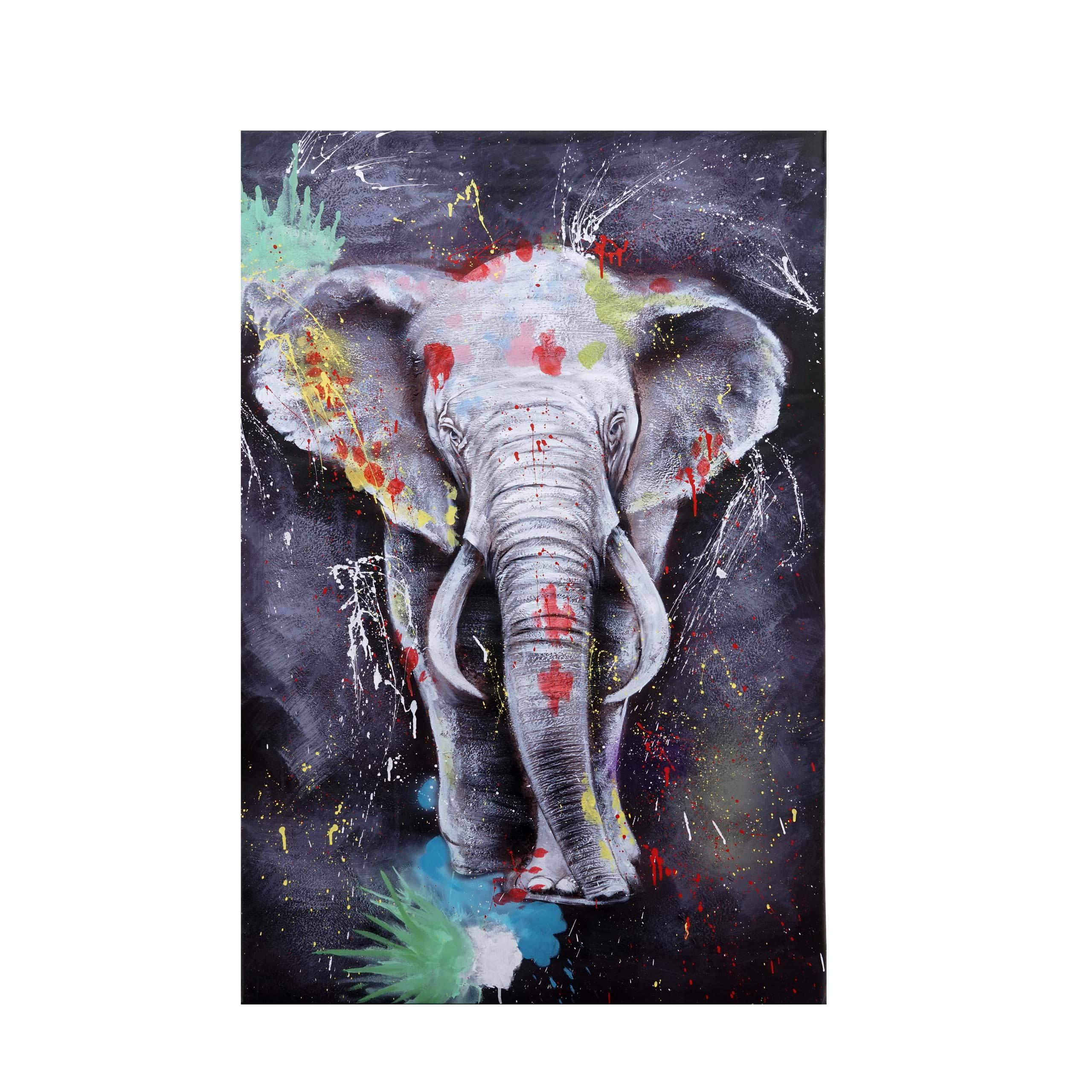 Mendler Ölgemälde Elefant HWC-H25, Leinwandbild Wandgemälde Gemälde, handgemaltes XL Wandbild ~ Variantenang 72767