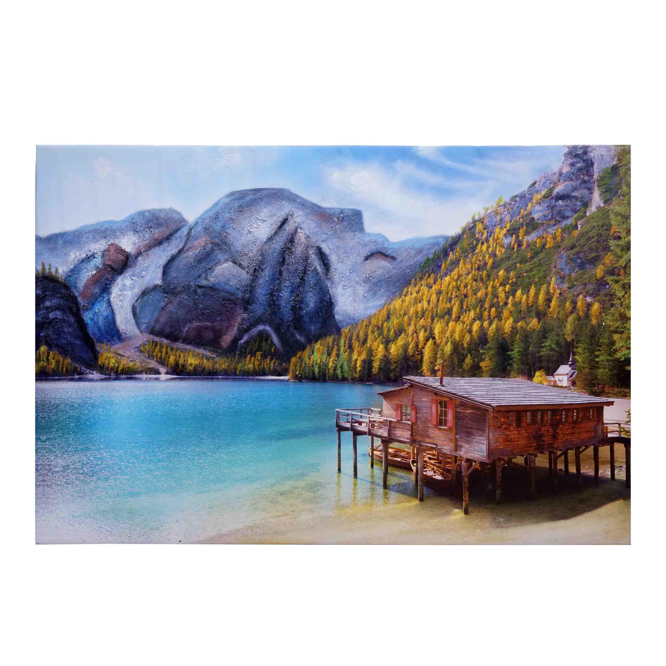 Mendler Wandgemälde Landschaft HWC-H25, Leinwandbild Sandgemälde Gemälde, handgemaltes XL Wandbild ~ Variant 72770