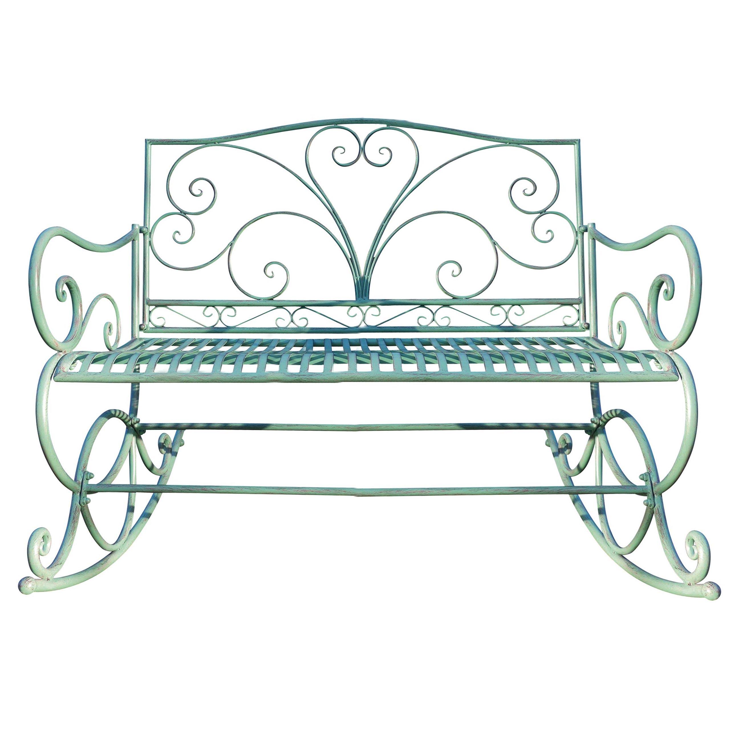 Panchina a dondolo HWC-C39 stile romantico metallo 112cm verde antico