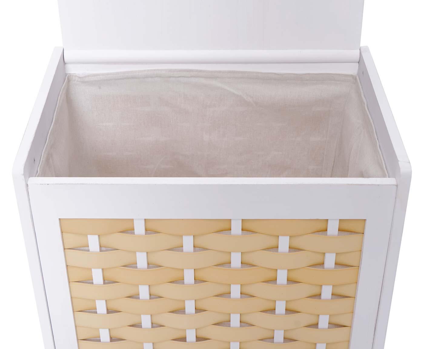 Set Paravent + Wäschekorb HWC-G37 Detailansicht aufgeklappter Deckel