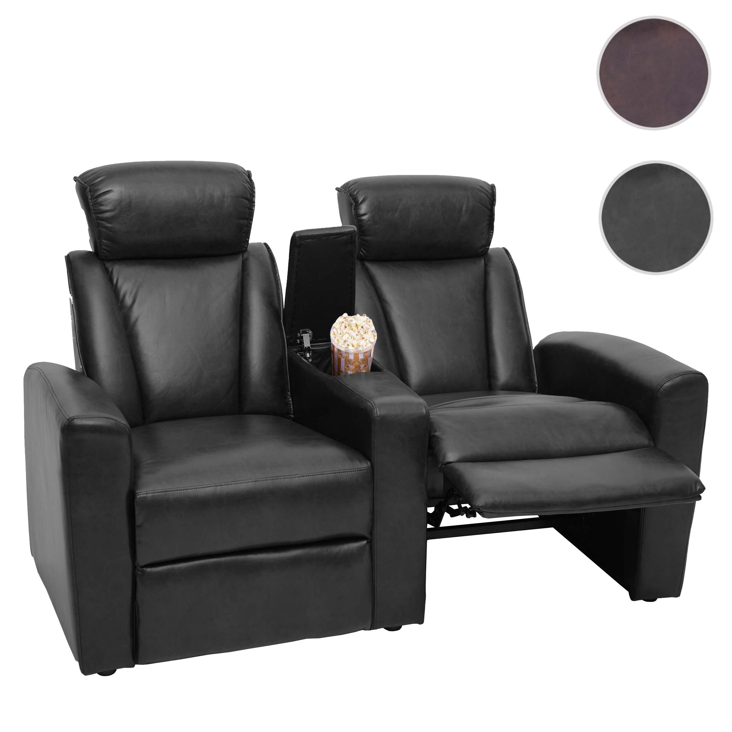 Mendler 2er Kinosessel HWC-H30, Relaxsessel Fernsehsessel Zweisitzer Sofa, Fach Getränkehalter Soft Touch Ku 72835+72836+72837