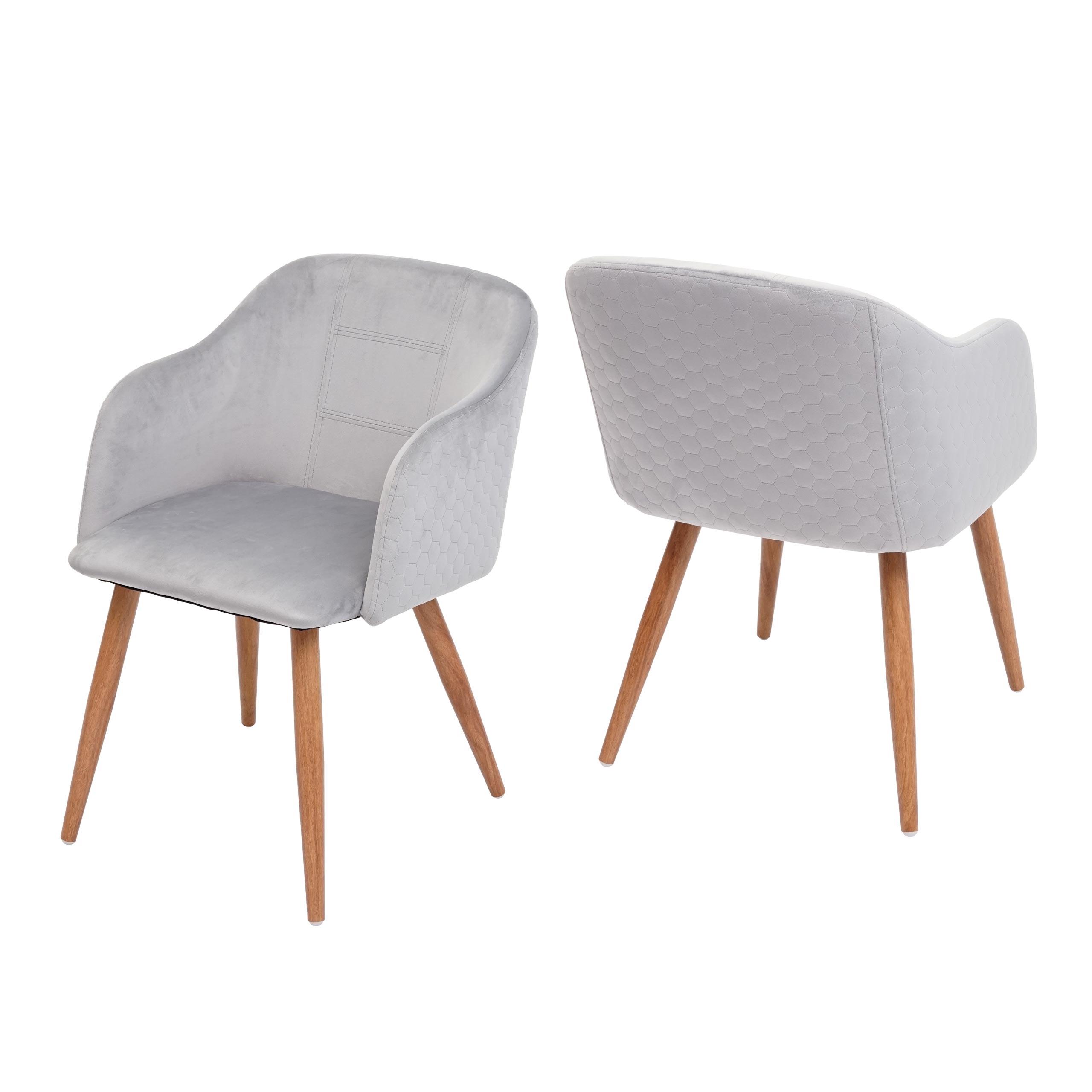 2x Esszimmerstuhl Hwc D71 Stuhl Kuchenstuhl Retro Design Armlehnen Stoff Textil Samt Hellgrau